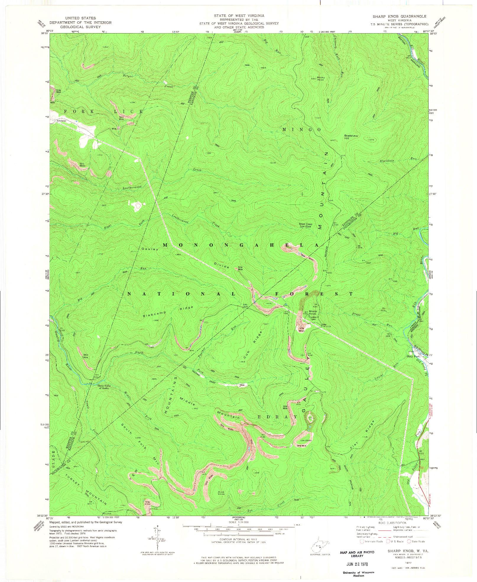 USGS 1:24000-SCALE QUADRANGLE FOR SHARP KNOB, WV 1977