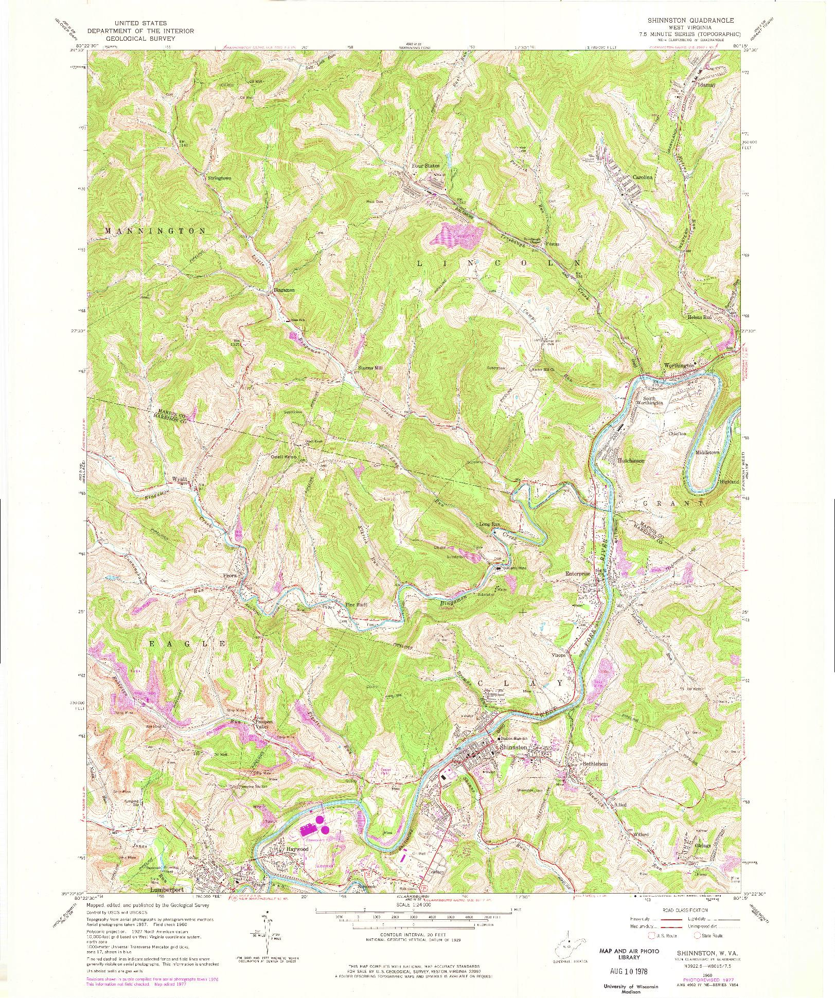 USGS 1:24000-SCALE QUADRANGLE FOR SHINNSTON, WV 1960