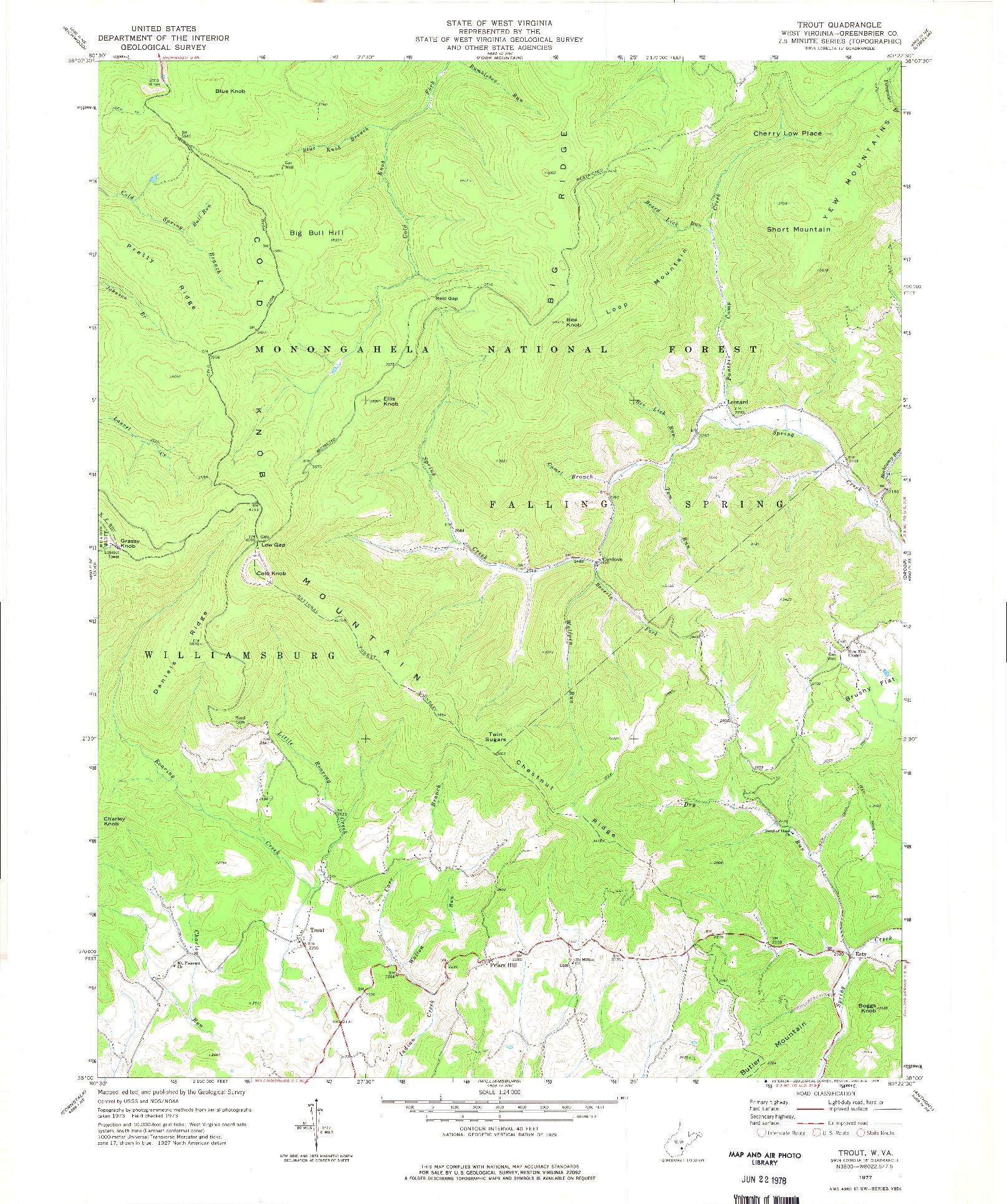 USGS 1:24000-SCALE QUADRANGLE FOR TROUT, WV 1977