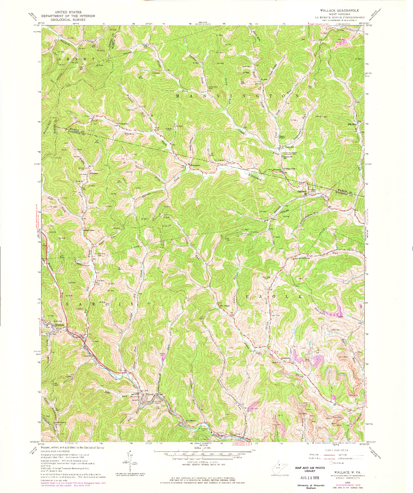 USGS 1:24000-SCALE QUADRANGLE FOR WALLACE, WV 1960