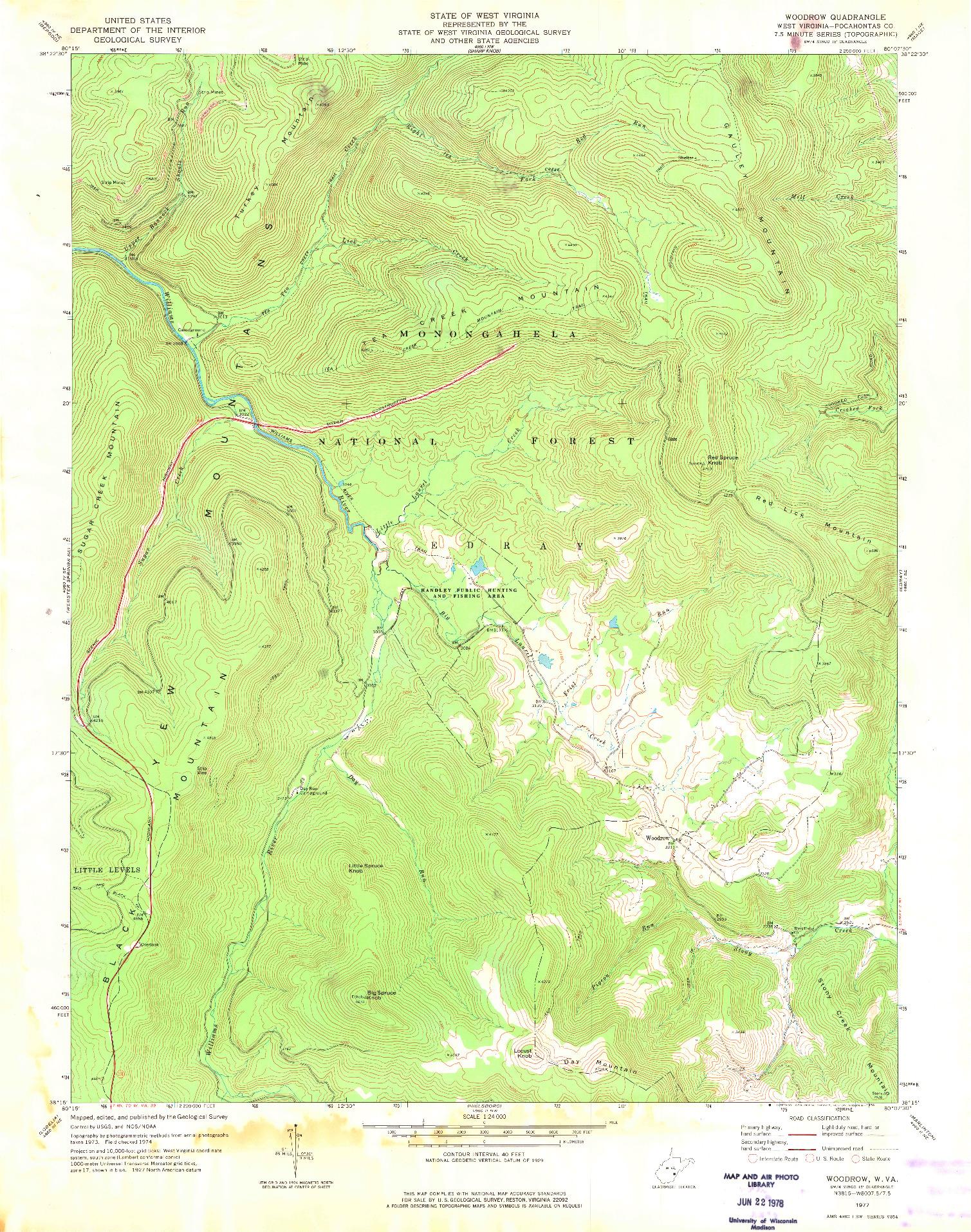 USGS 1:24000-SCALE QUADRANGLE FOR WOODROW, WV 1977