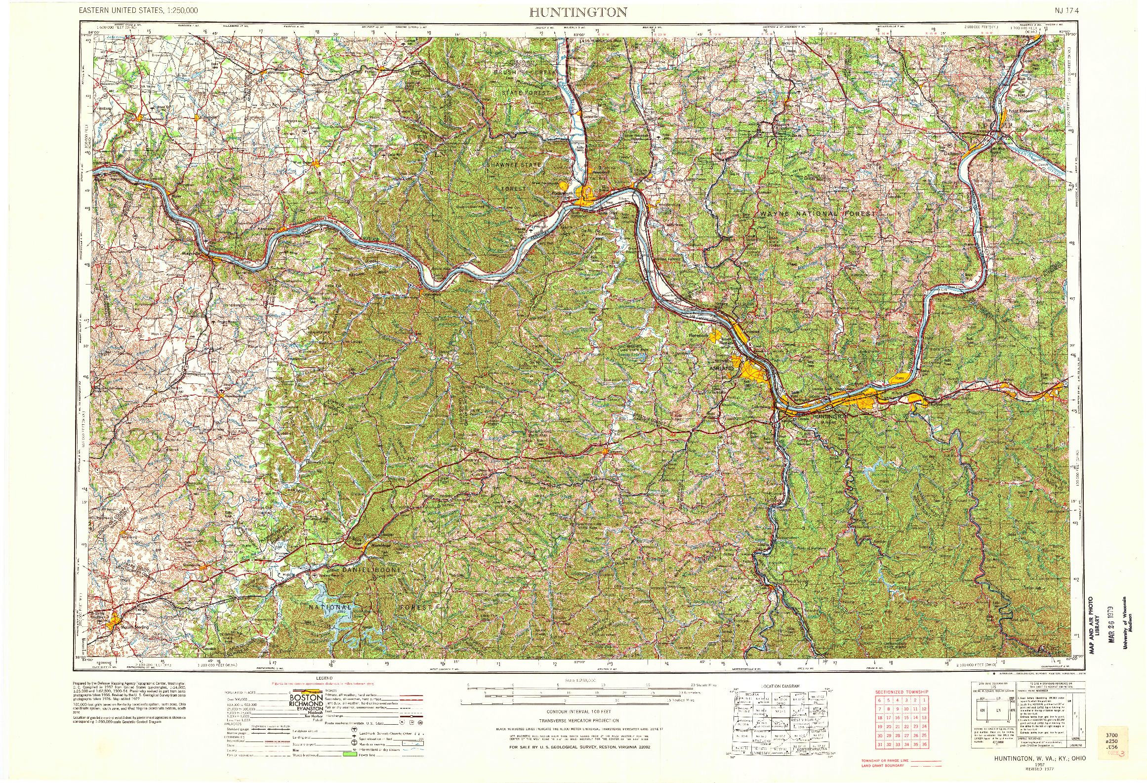 USGS 1:250000-SCALE QUADRANGLE FOR HUNTINGTON, WV 1957