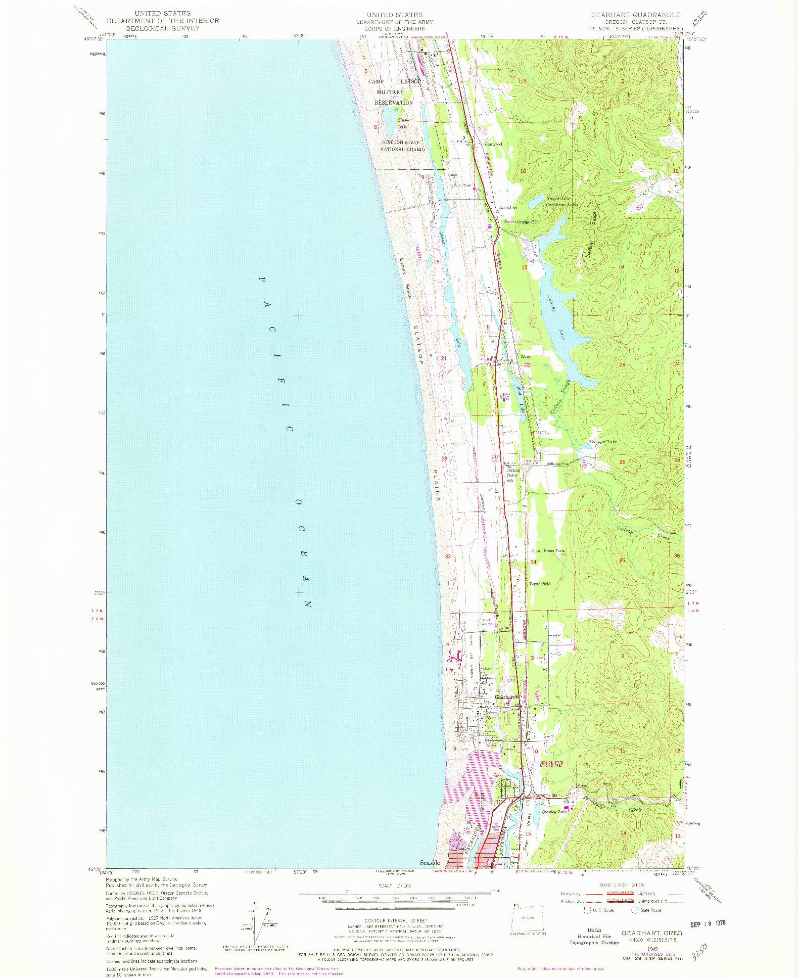 USGS 1:24000-SCALE QUADRANGLE FOR GEARHART, OR 1949