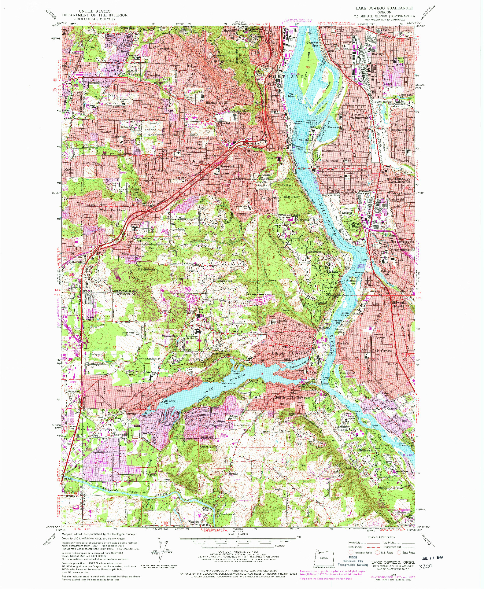 USGS 1:24000-SCALE QUADRANGLE FOR LAKE OSWEGO, OR 1961
