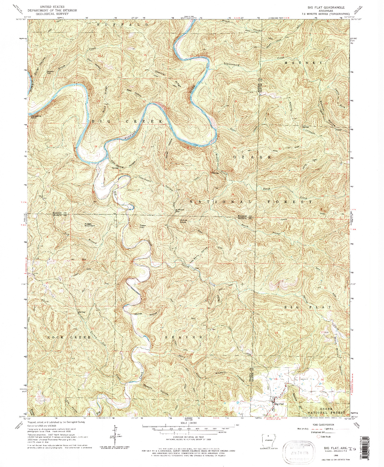 USGS 1:24000-SCALE QUADRANGLE FOR BIG FLAT, AR 1966