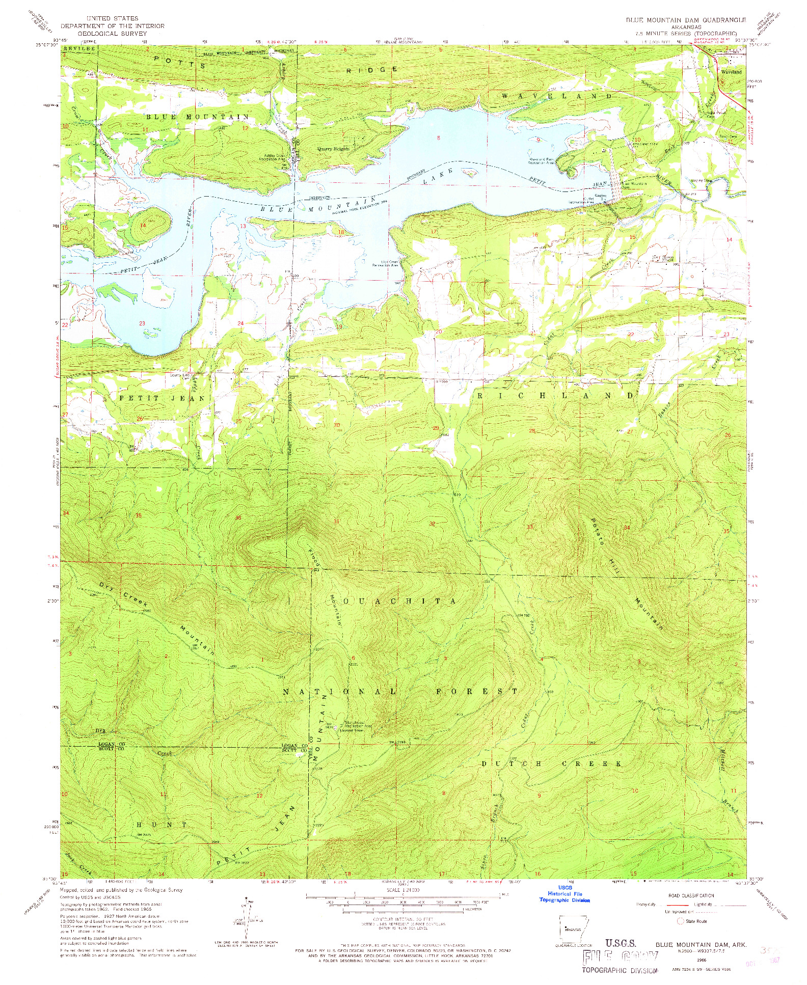 USGS 1:24000-SCALE QUADRANGLE FOR BLUE MOUNTAIN DAM, AR 1966