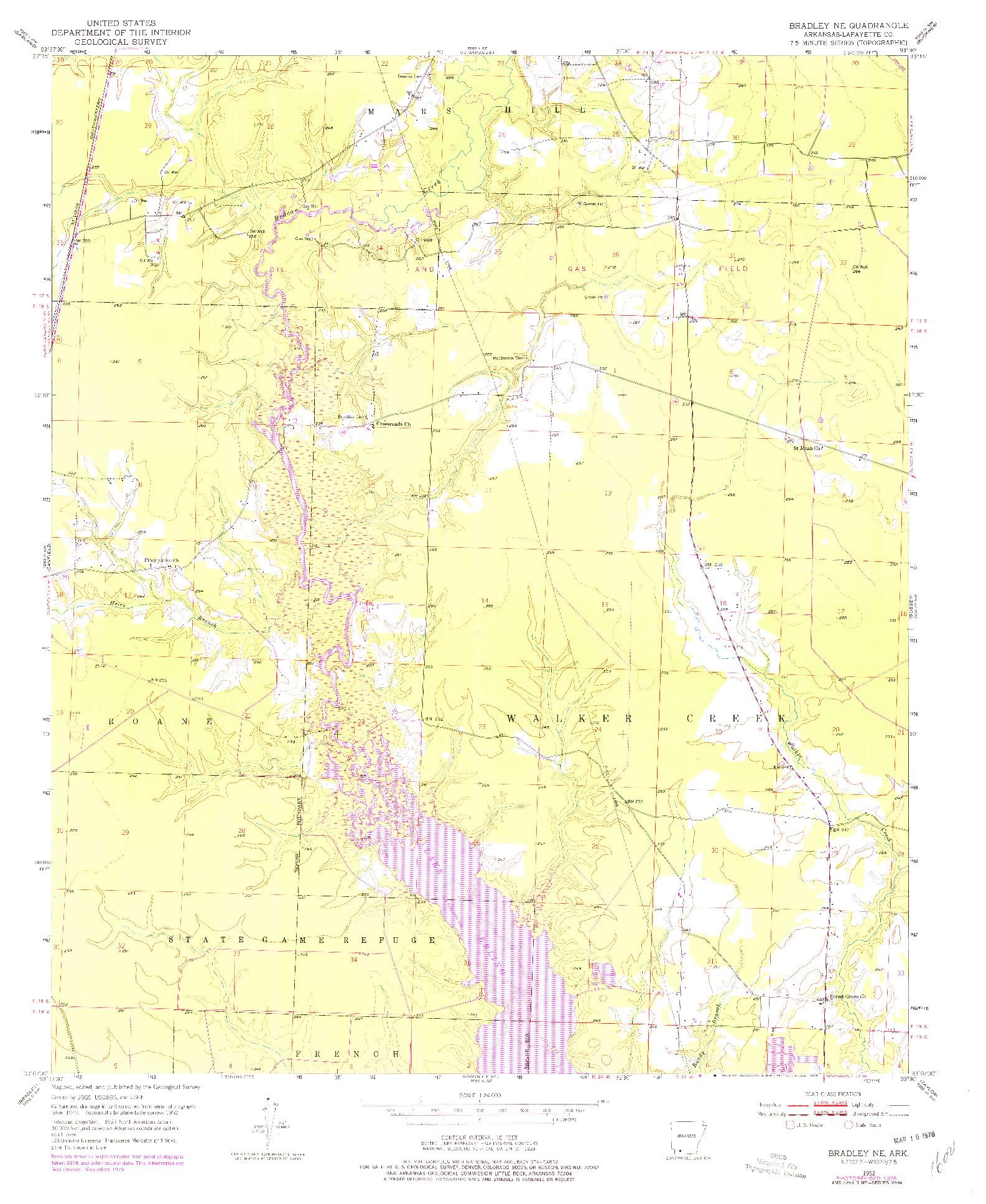 USGS 1:24000-SCALE QUADRANGLE FOR BRADLEY NE, AR 1952