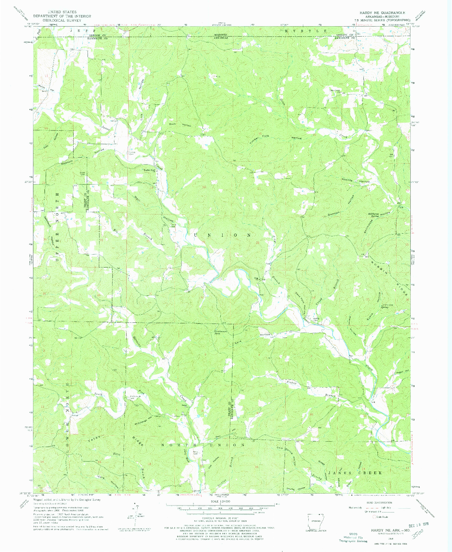 USGS 1:24000-SCALE QUADRANGLE FOR HARDY NE, AR 1968