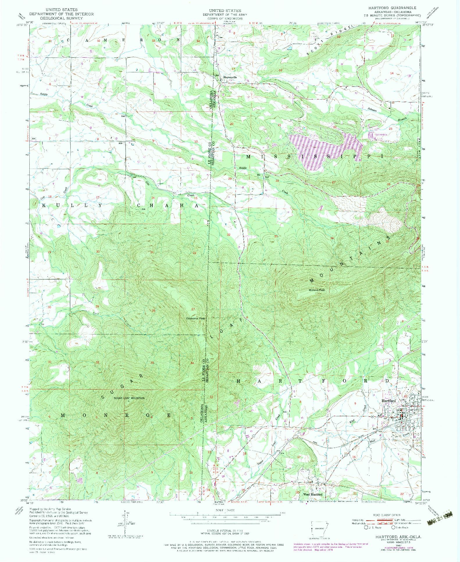 USGS 1:24000-SCALE QUADRANGLE FOR HARTFORD, AR 1947