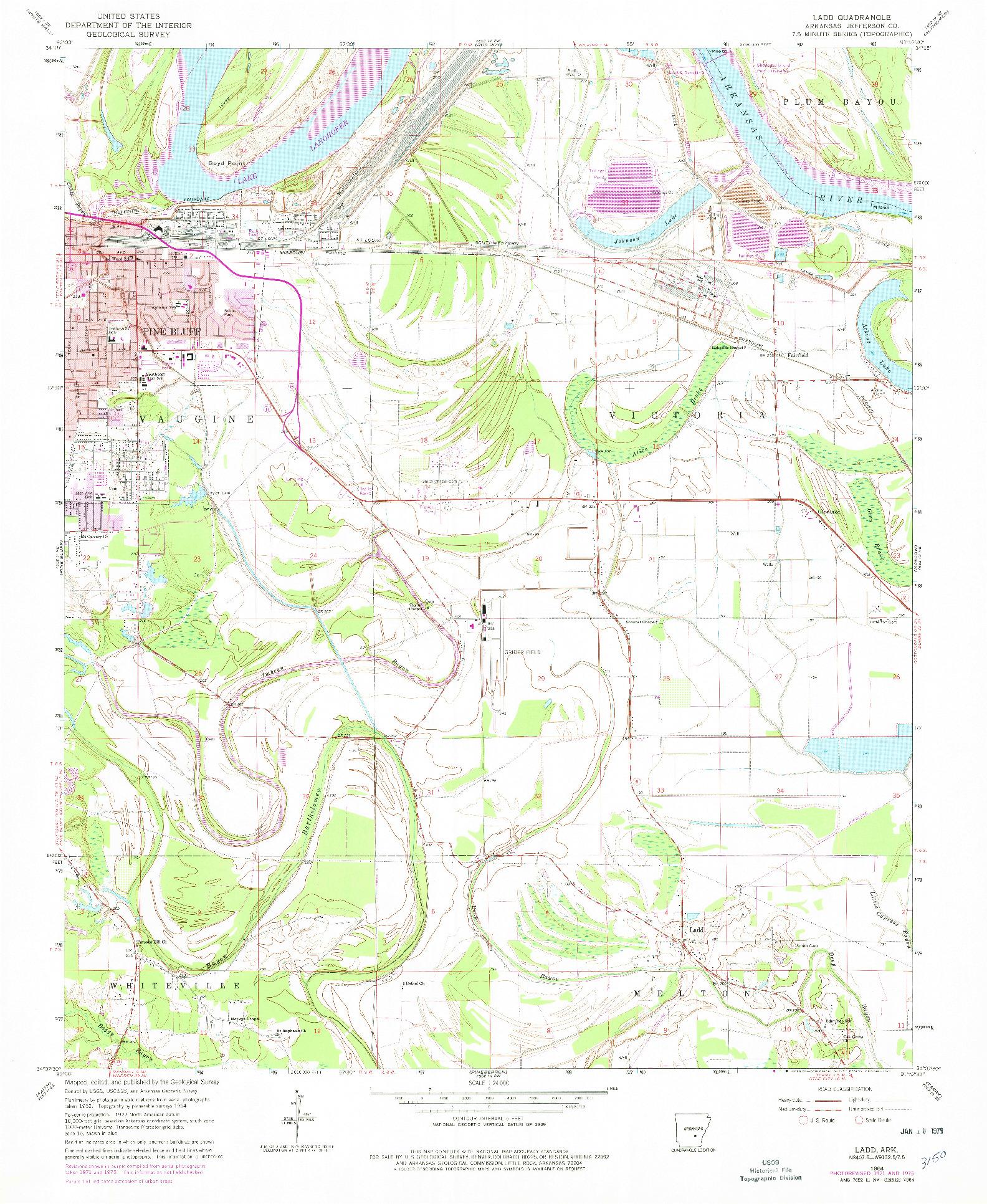 USGS 1:24000-SCALE QUADRANGLE FOR LADD, AR 1964