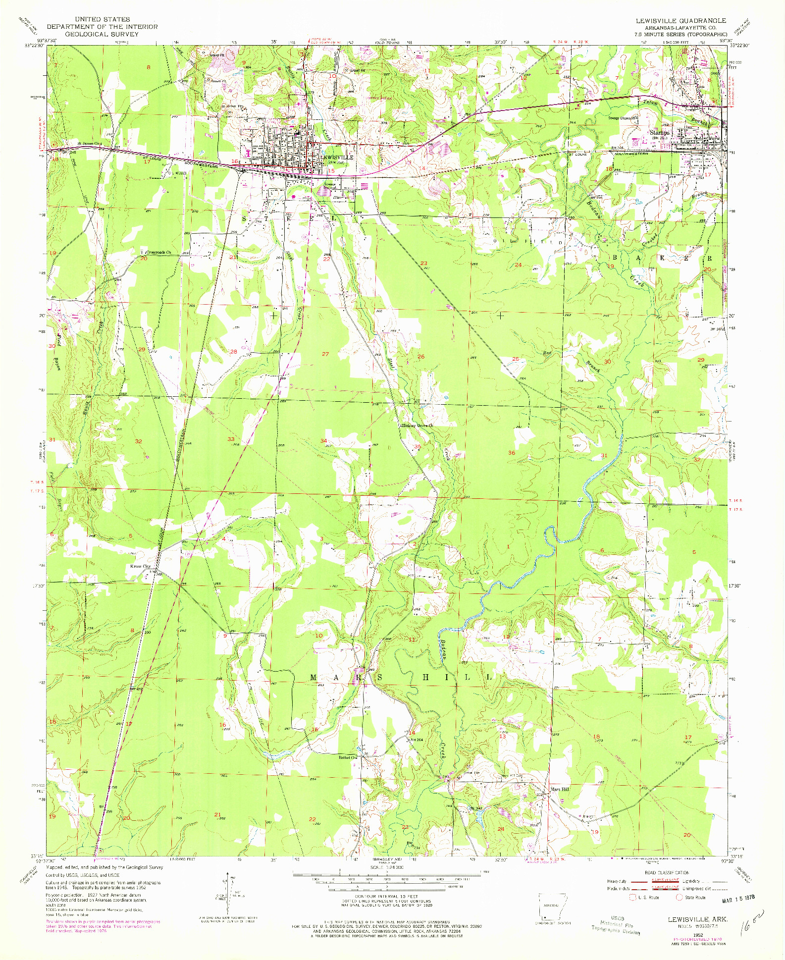 USGS 1:24000-SCALE QUADRANGLE FOR LEWISVILLE, AR 1952