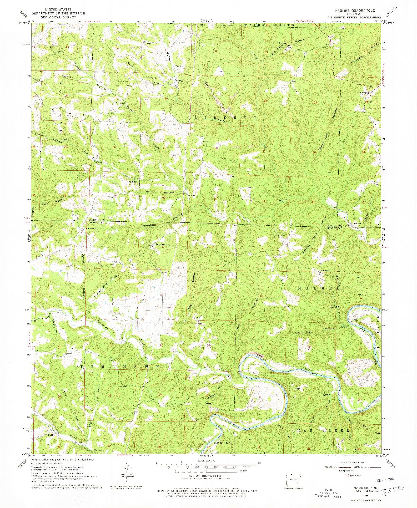 USGS 1:24000-SCALE QUADRANGLE FOR MAUMEE, AR 1966