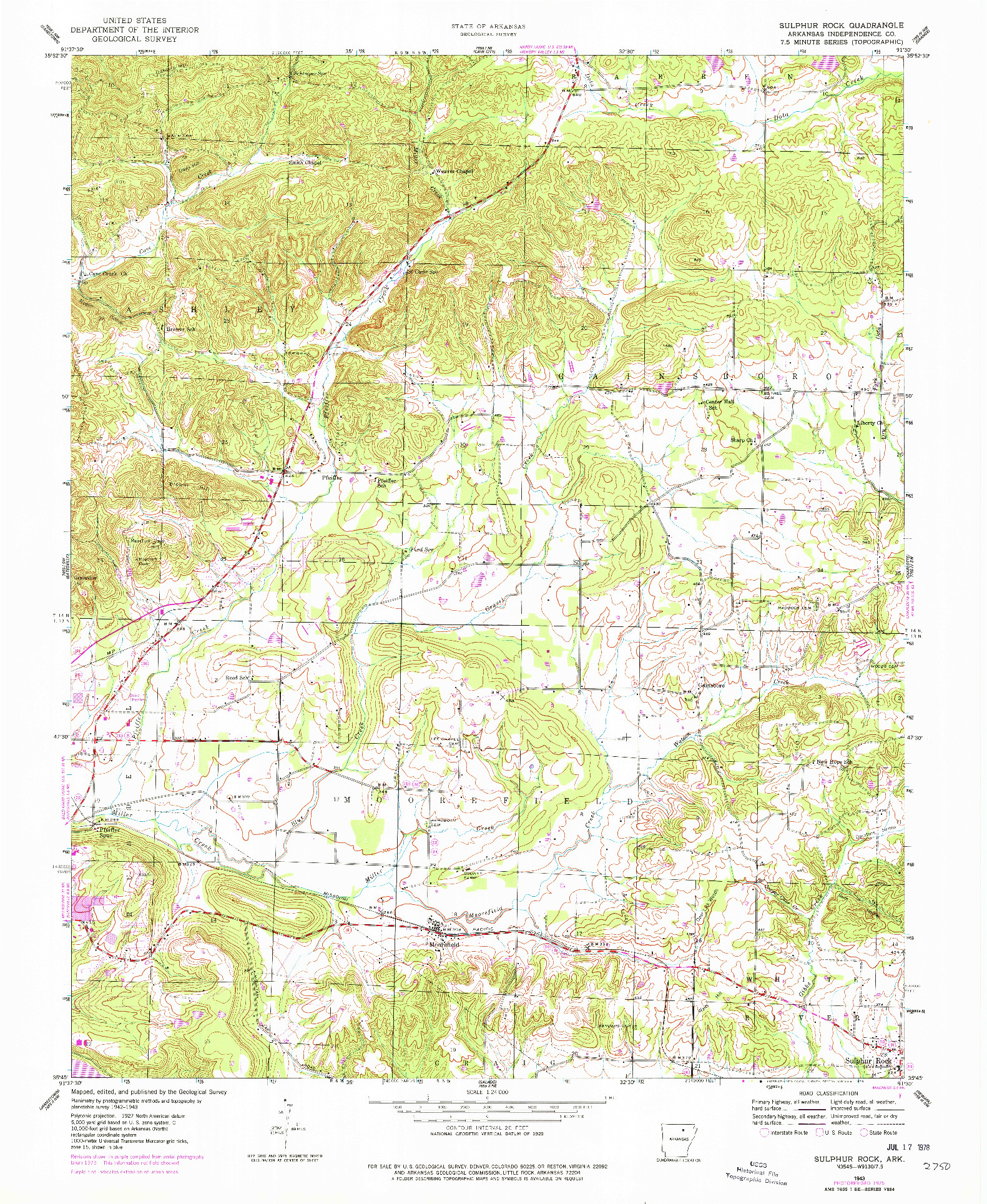USGS 1:24000-SCALE QUADRANGLE FOR SULPHUR ROCK, AR 1943