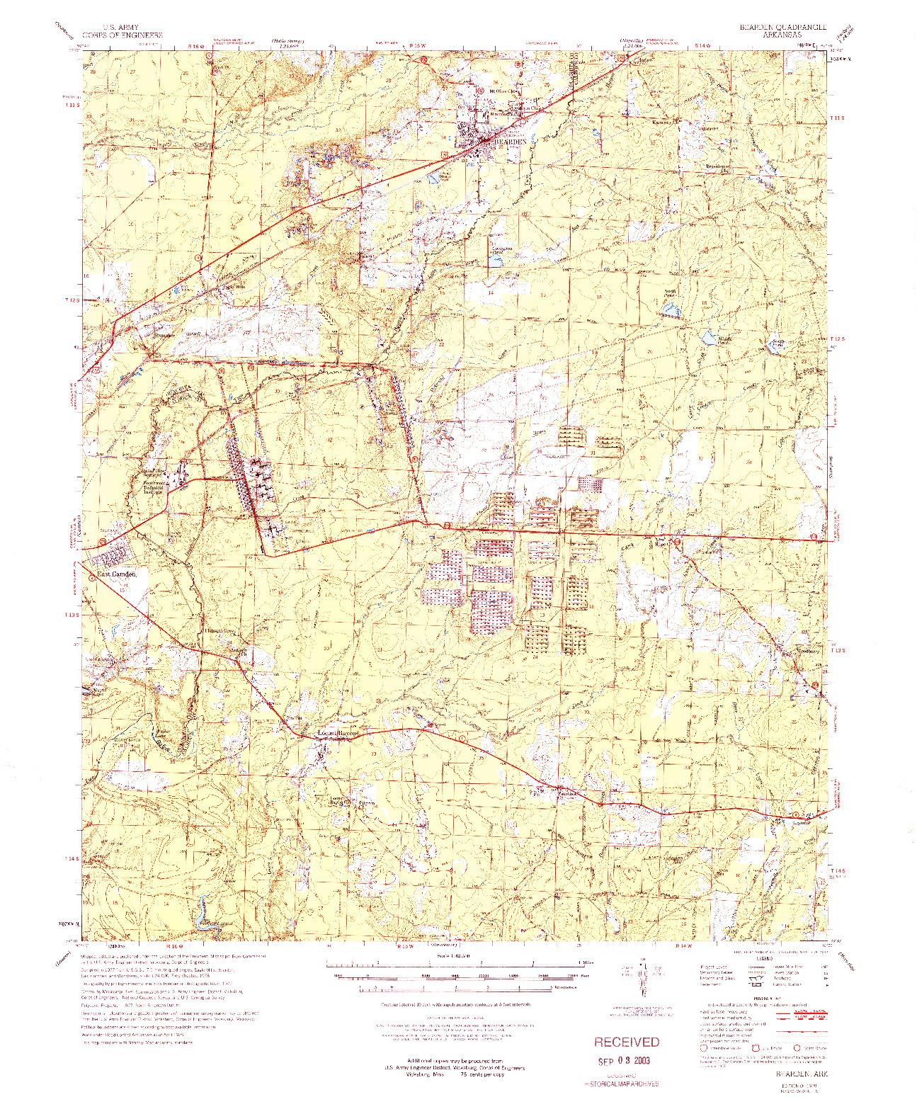 USGS 1:62500-SCALE QUADRANGLE FOR BEARDEN, AR 1978
