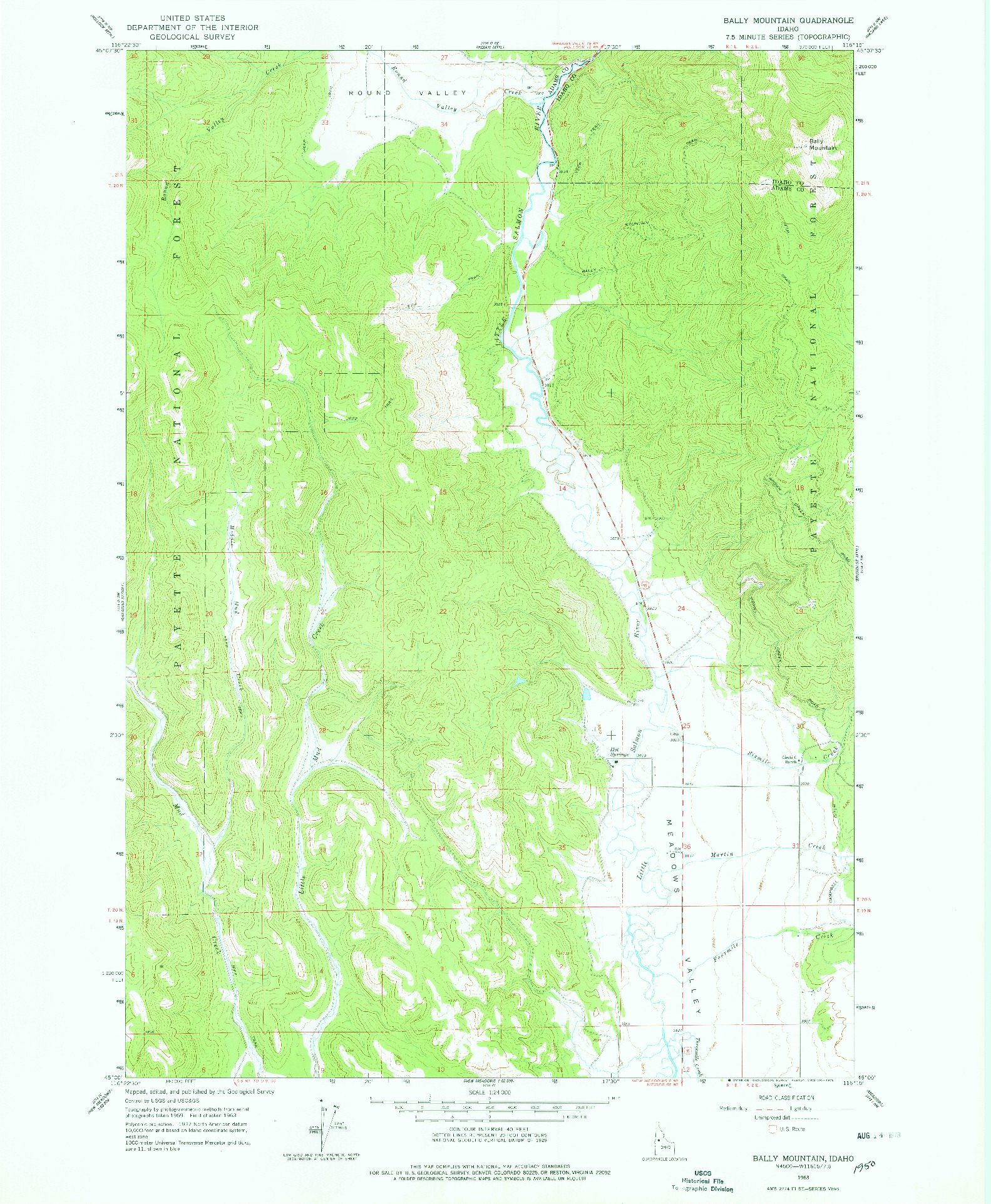 USGS 1:24000-SCALE QUADRANGLE FOR BALLY MOUNTAIN, ID 1963