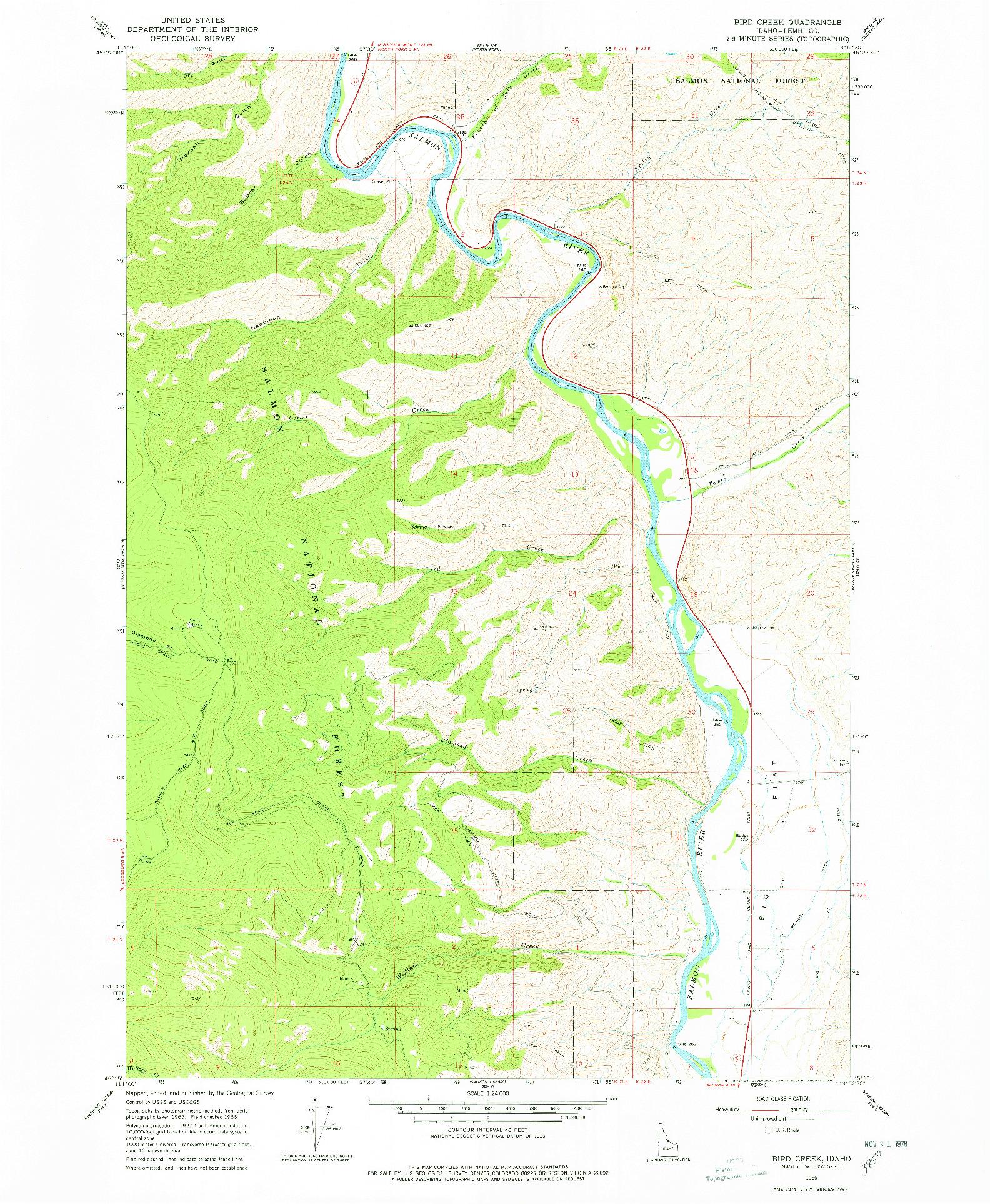 USGS 1:24000-SCALE QUADRANGLE FOR BIRD CREEK, ID 1966