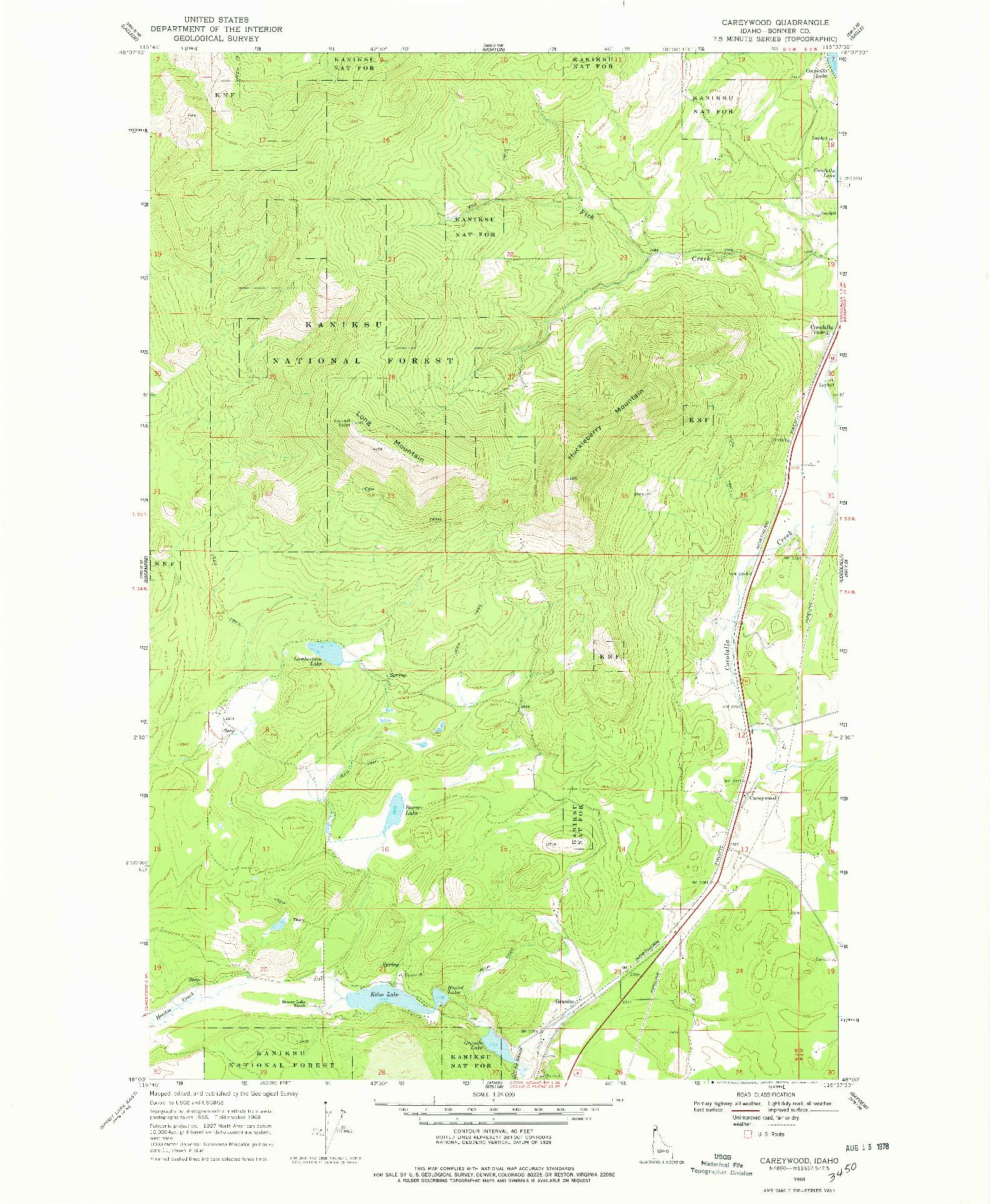 USGS 1:24000-SCALE QUADRANGLE FOR CAREYWOOD, ID 1968