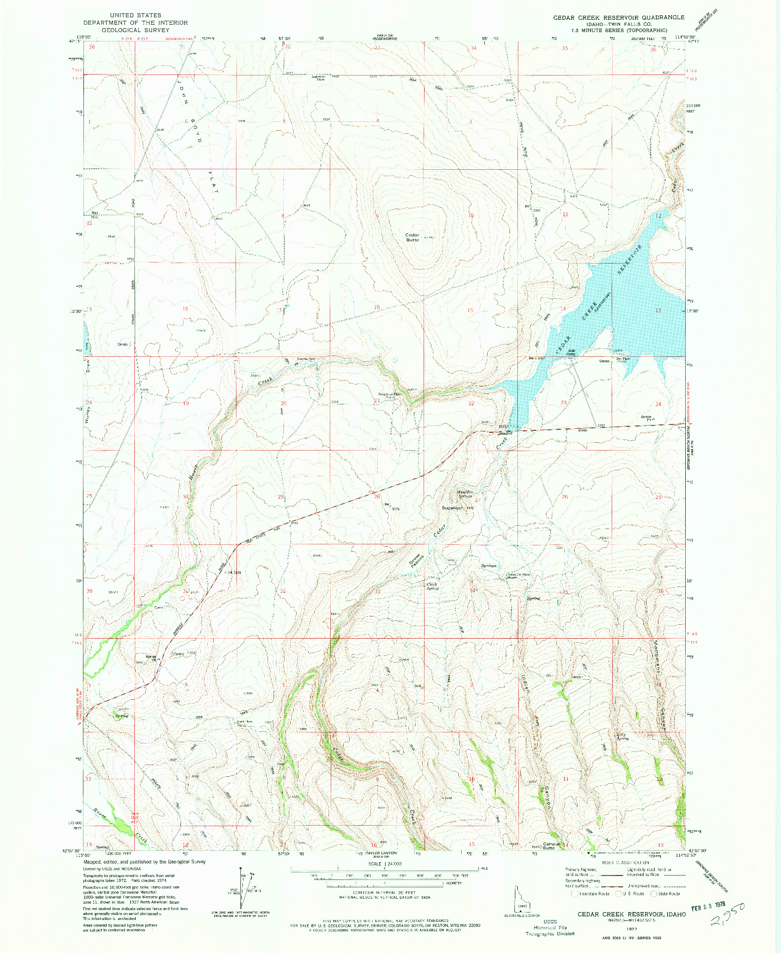 USGS 1:24000-SCALE QUADRANGLE FOR CEDAR CREEK RESERVOIR, ID 1977
