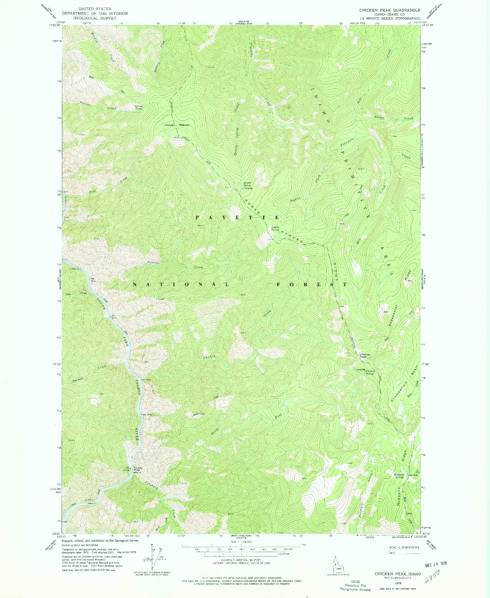 USGS 1:24000-SCALE QUADRANGLE FOR CHICKEN PEAK, ID 1978
