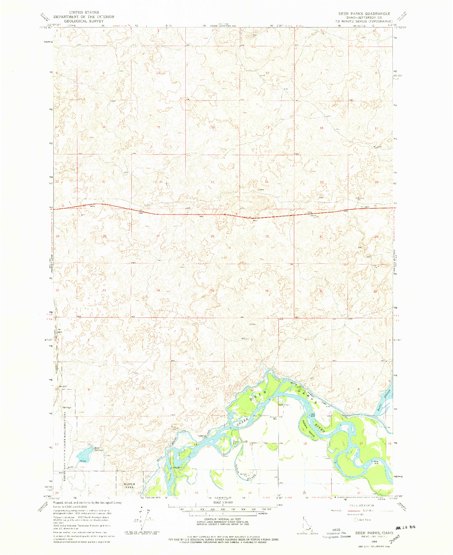 USGS 1:24000-SCALE QUADRANGLE FOR DEER PARKS, ID 1964