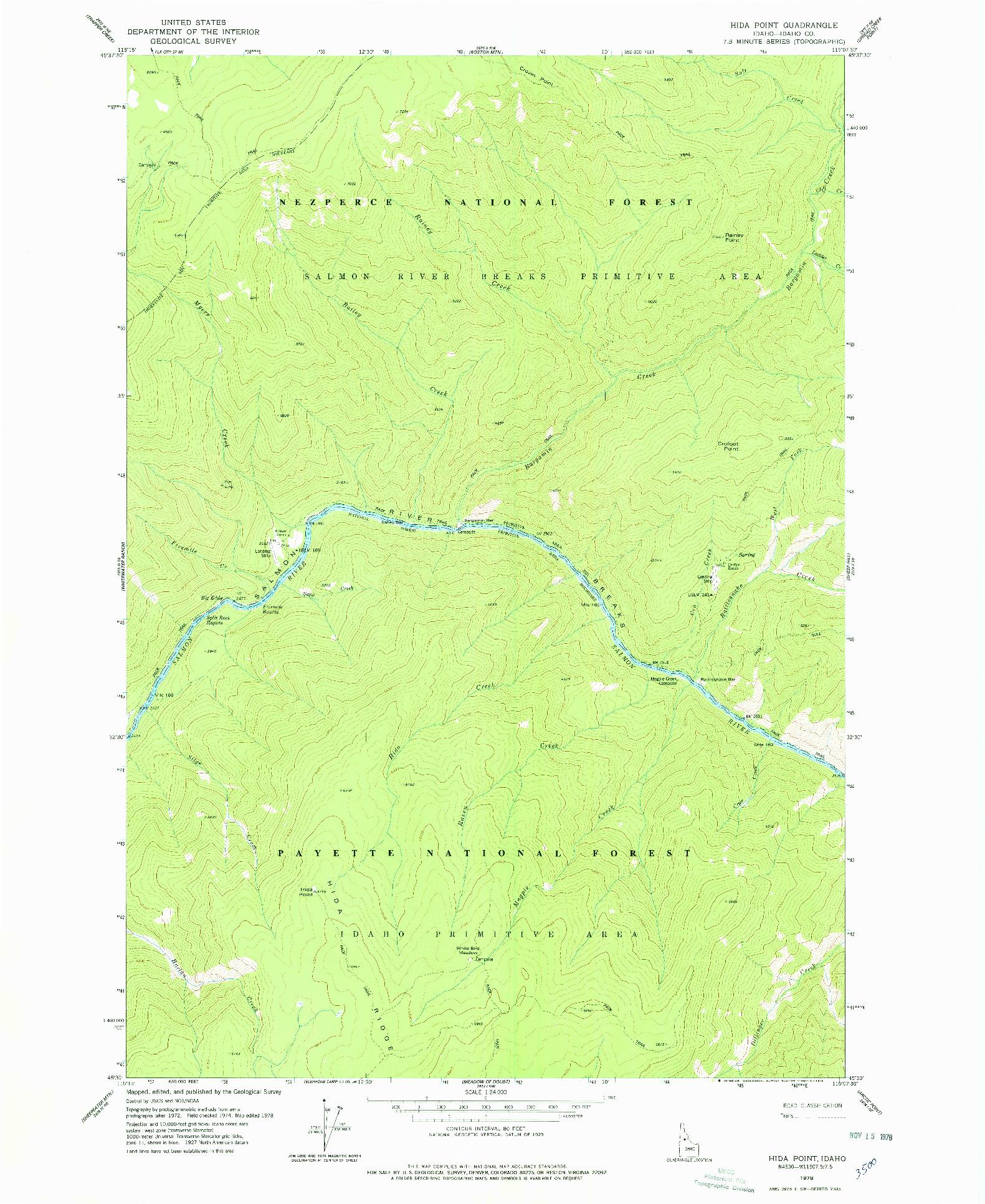USGS 1:24000-SCALE QUADRANGLE FOR HIDA POINT, ID 1978