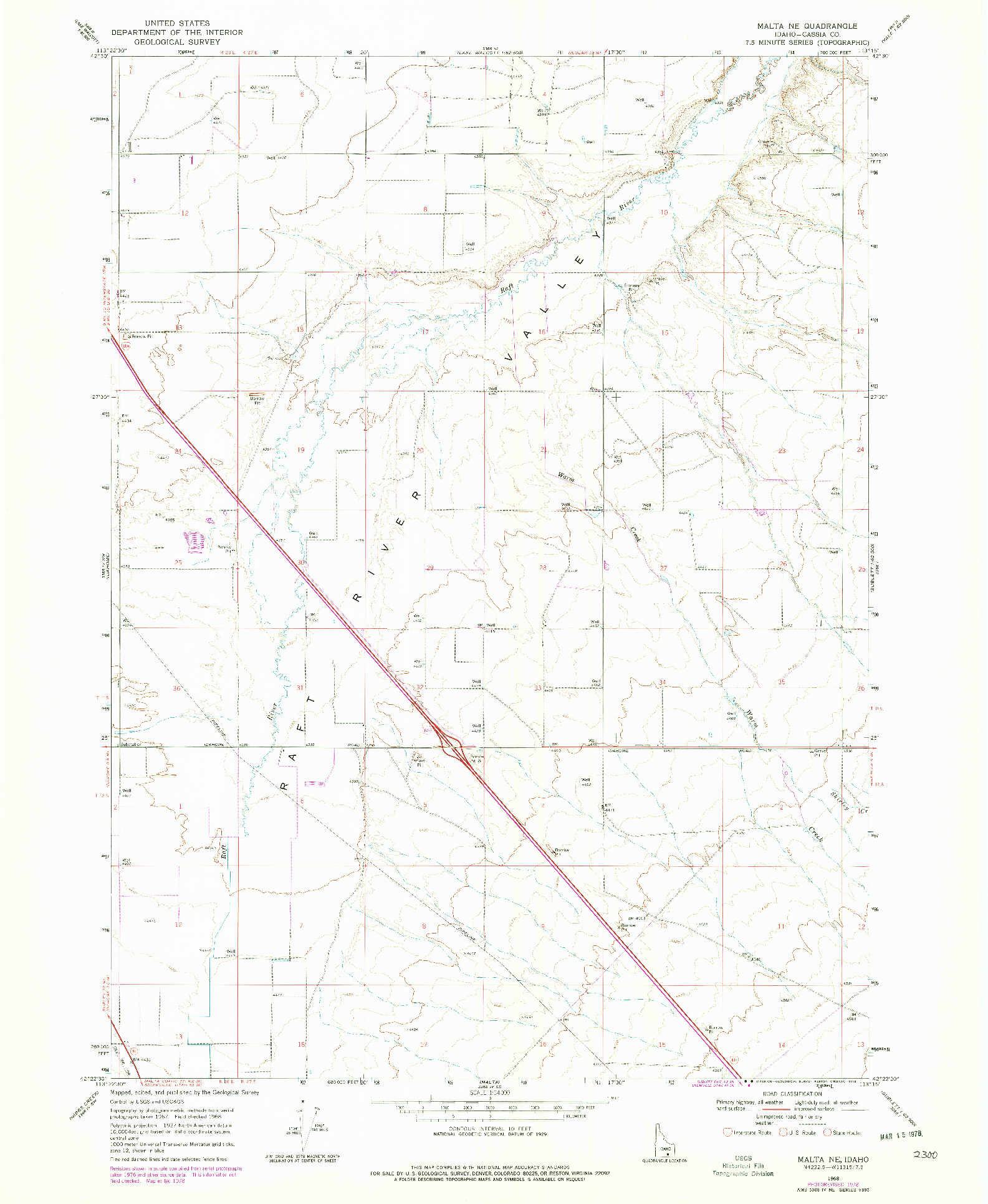 USGS 1:24000-SCALE QUADRANGLE FOR MALTA NE, ID 1968