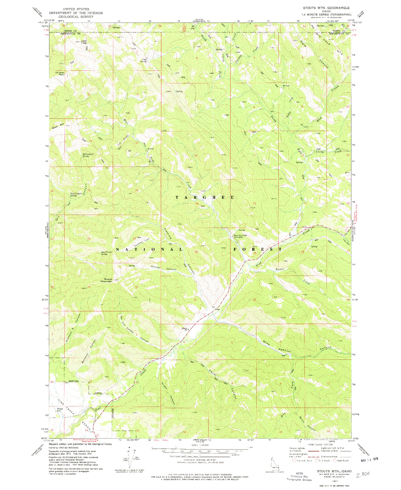 USGS 1:24000-SCALE QUADRANGLE FOR STOUTS MTN, ID 1977