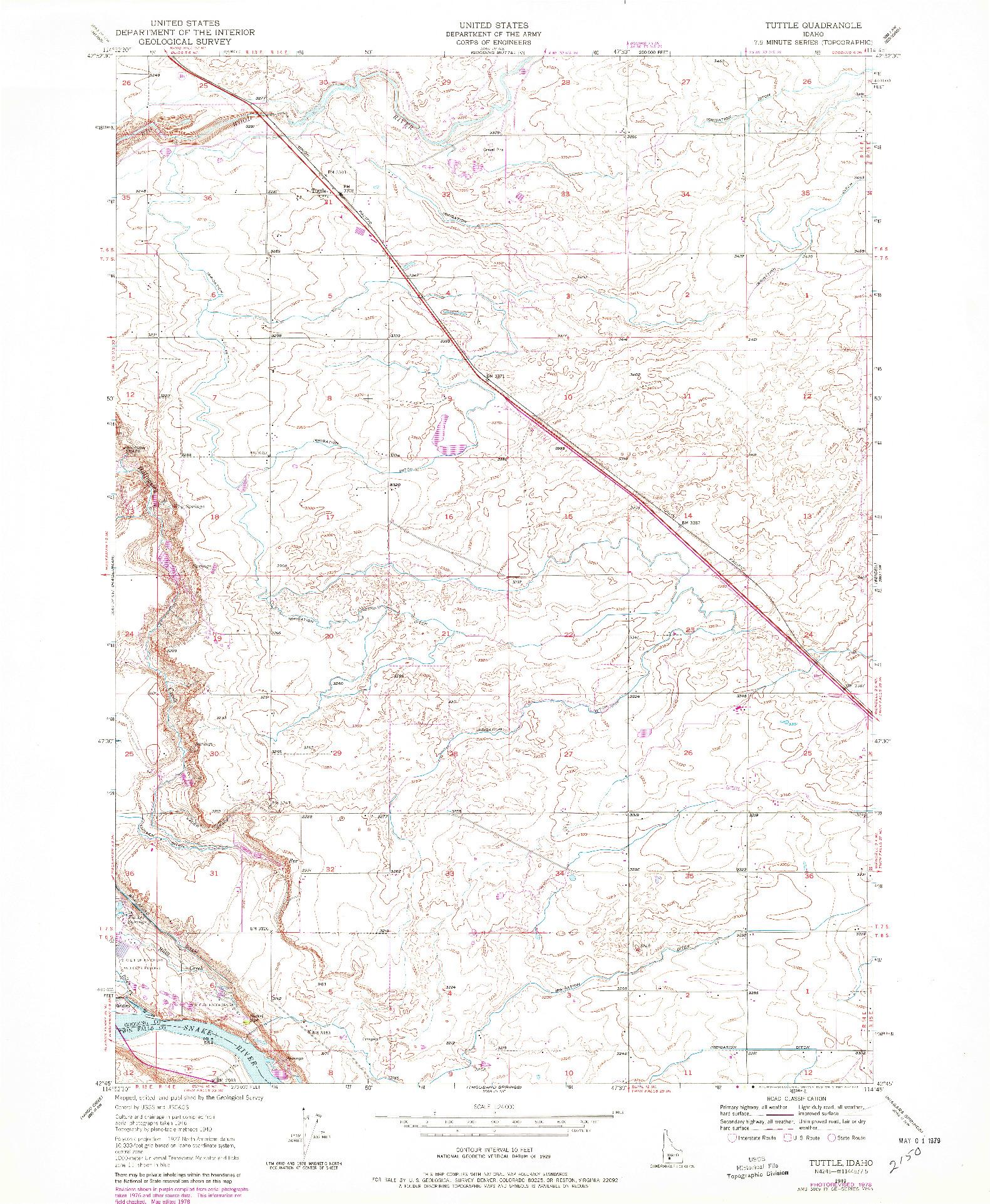 USGS 1:24000-SCALE QUADRANGLE FOR TUTTLE, ID 1949