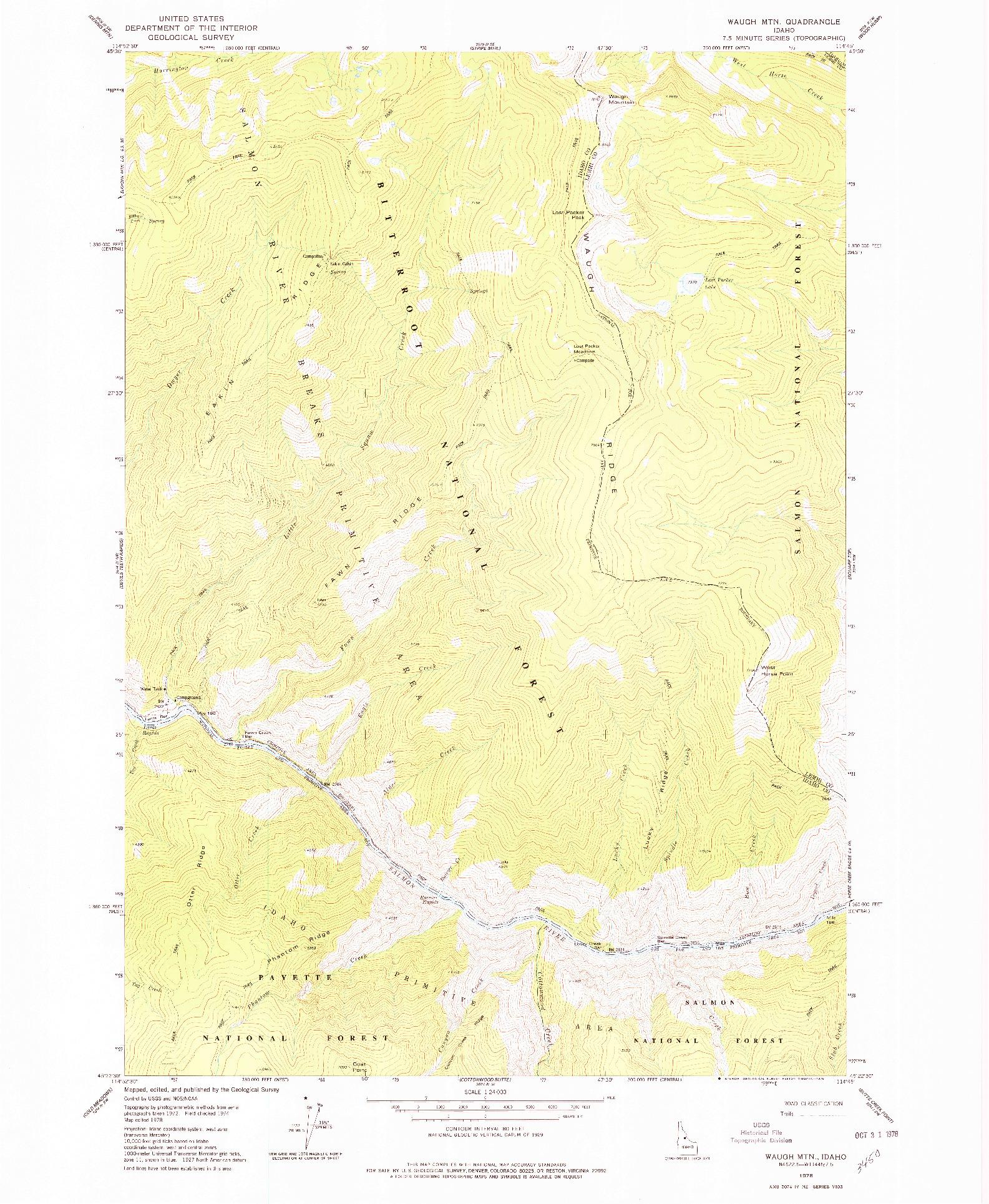 USGS 1:24000-SCALE QUADRANGLE FOR WAUGH MOUNTAIN, ID 1978