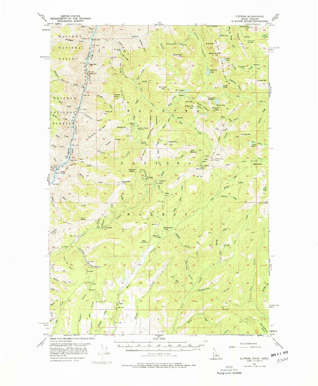 USGS 1:62500-SCALE QUADRANGLE FOR CUPRUM, ID 1957