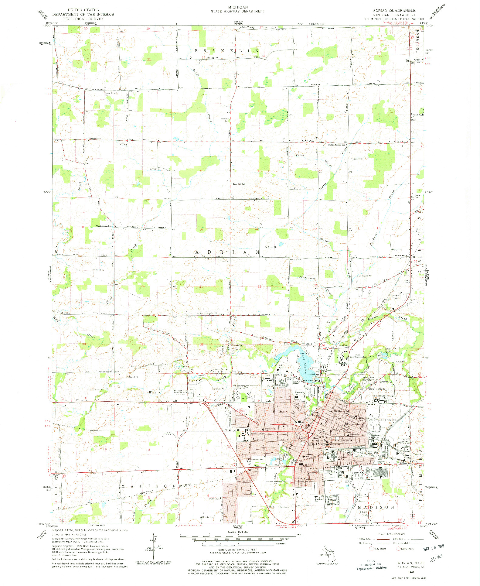 USGS 1:24000-SCALE QUADRANGLE FOR ADRIAN, MI 1962