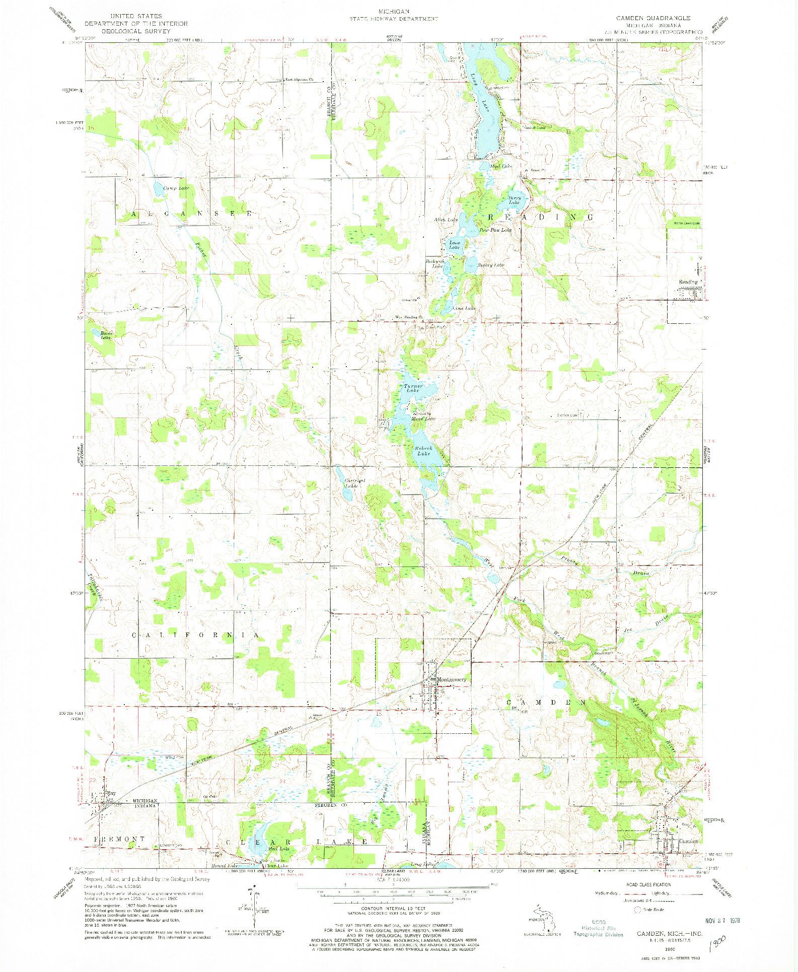 USGS 1:24000-SCALE QUADRANGLE FOR CAMDEN, MI 1960