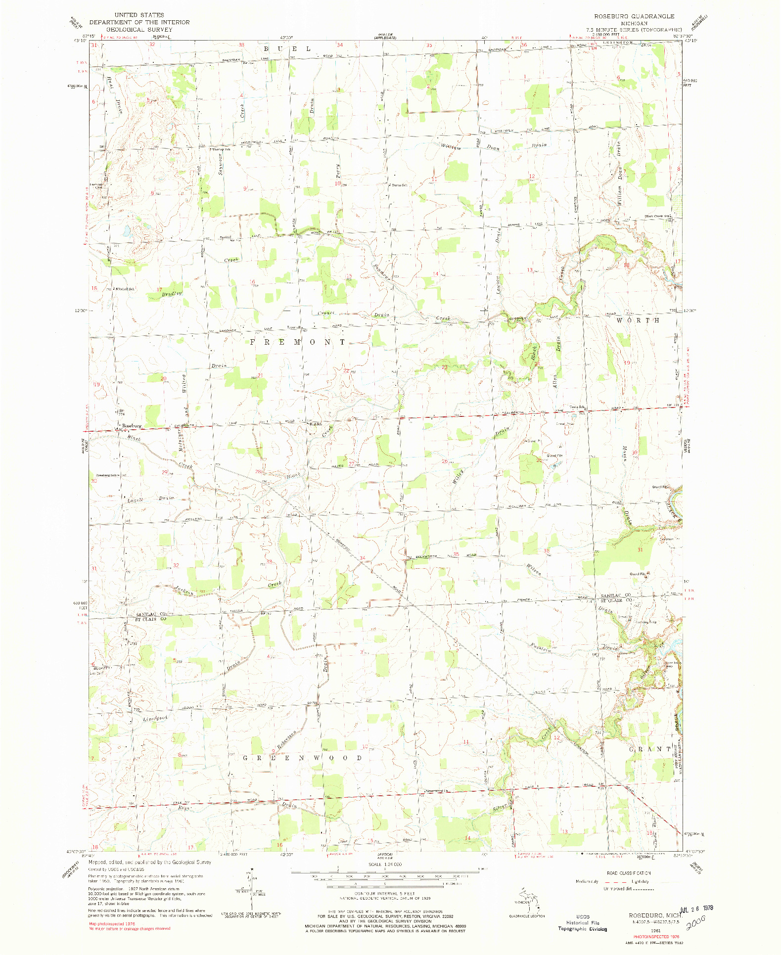 USGS 1:24000-SCALE QUADRANGLE FOR ROSEBURG, MI 1961