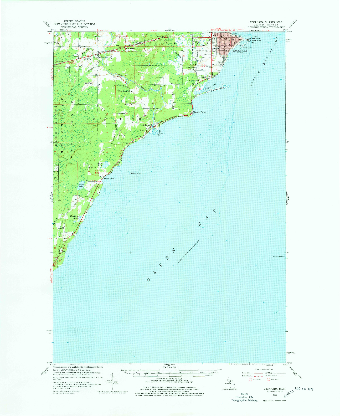USGS 1:62500-SCALE QUADRANGLE FOR ESCANABA, MI 1958