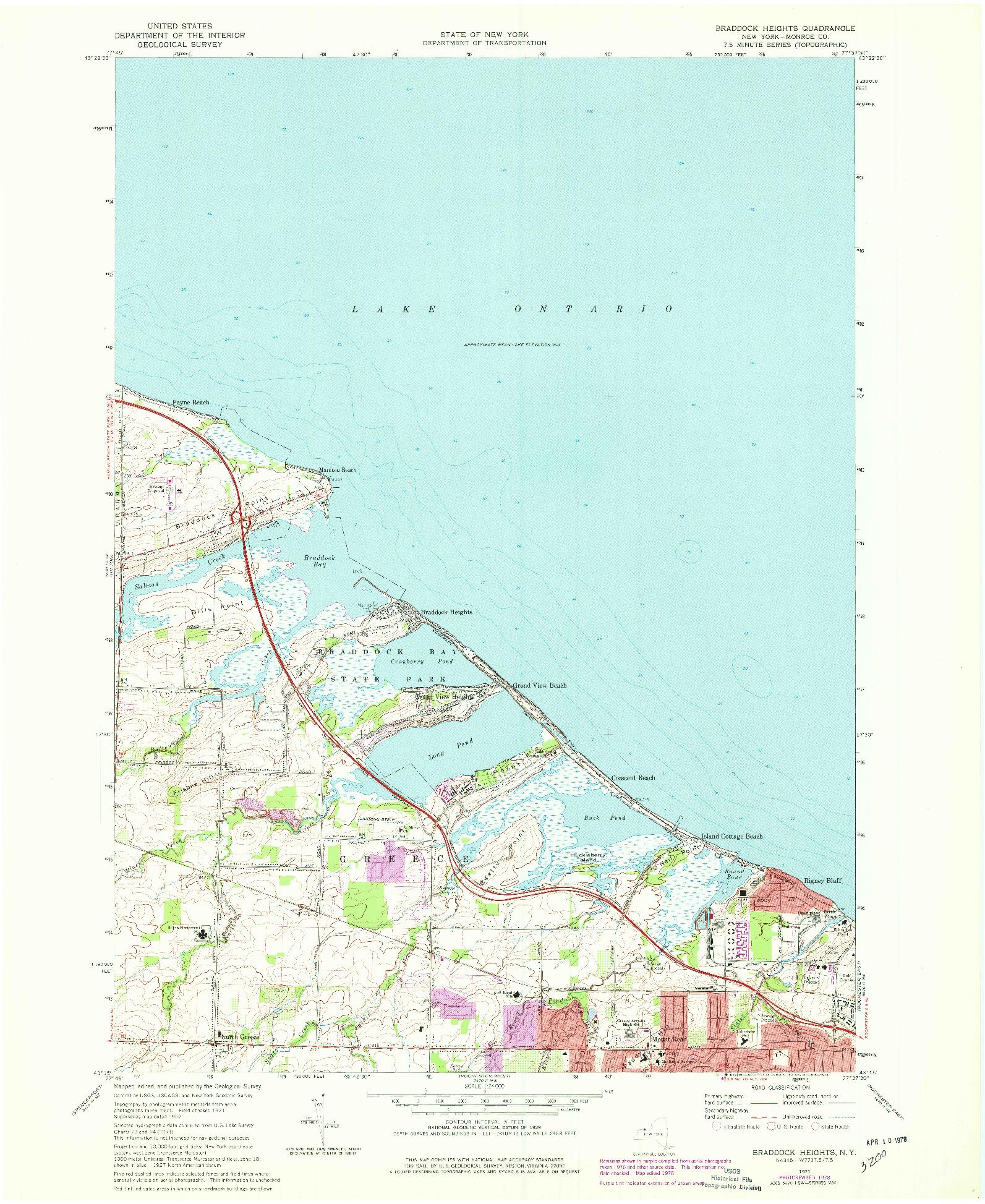 USGS 1:24000-SCALE QUADRANGLE FOR BRADDOCK HEIGHTS, NY 1971
