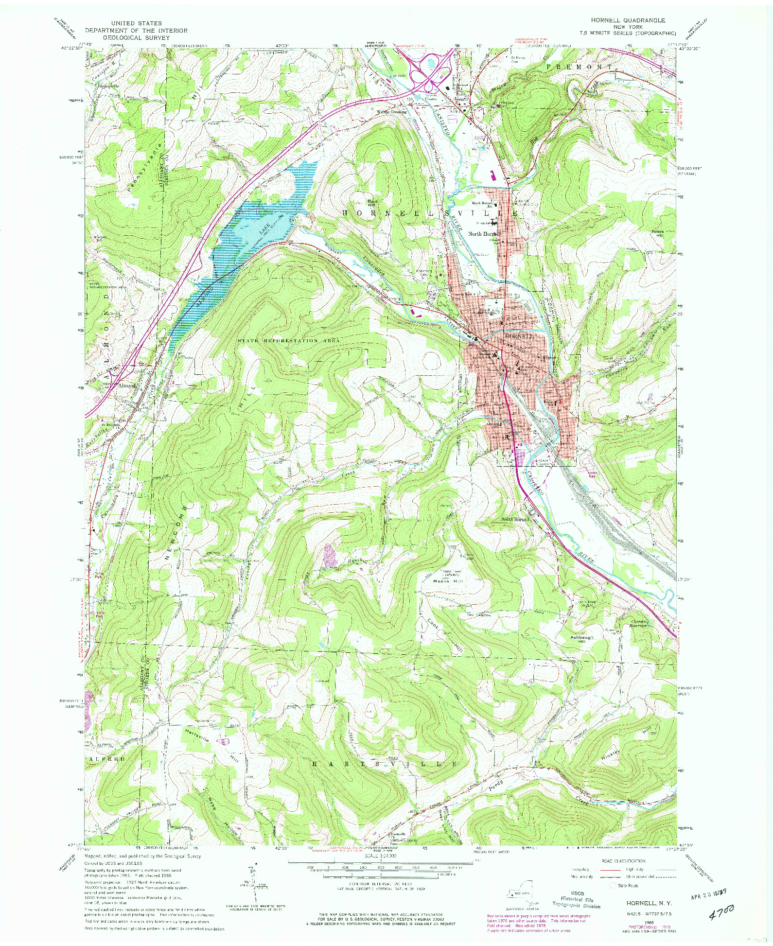 USGS 1:24000-SCALE QUADRANGLE FOR HORNELL, NY 1978