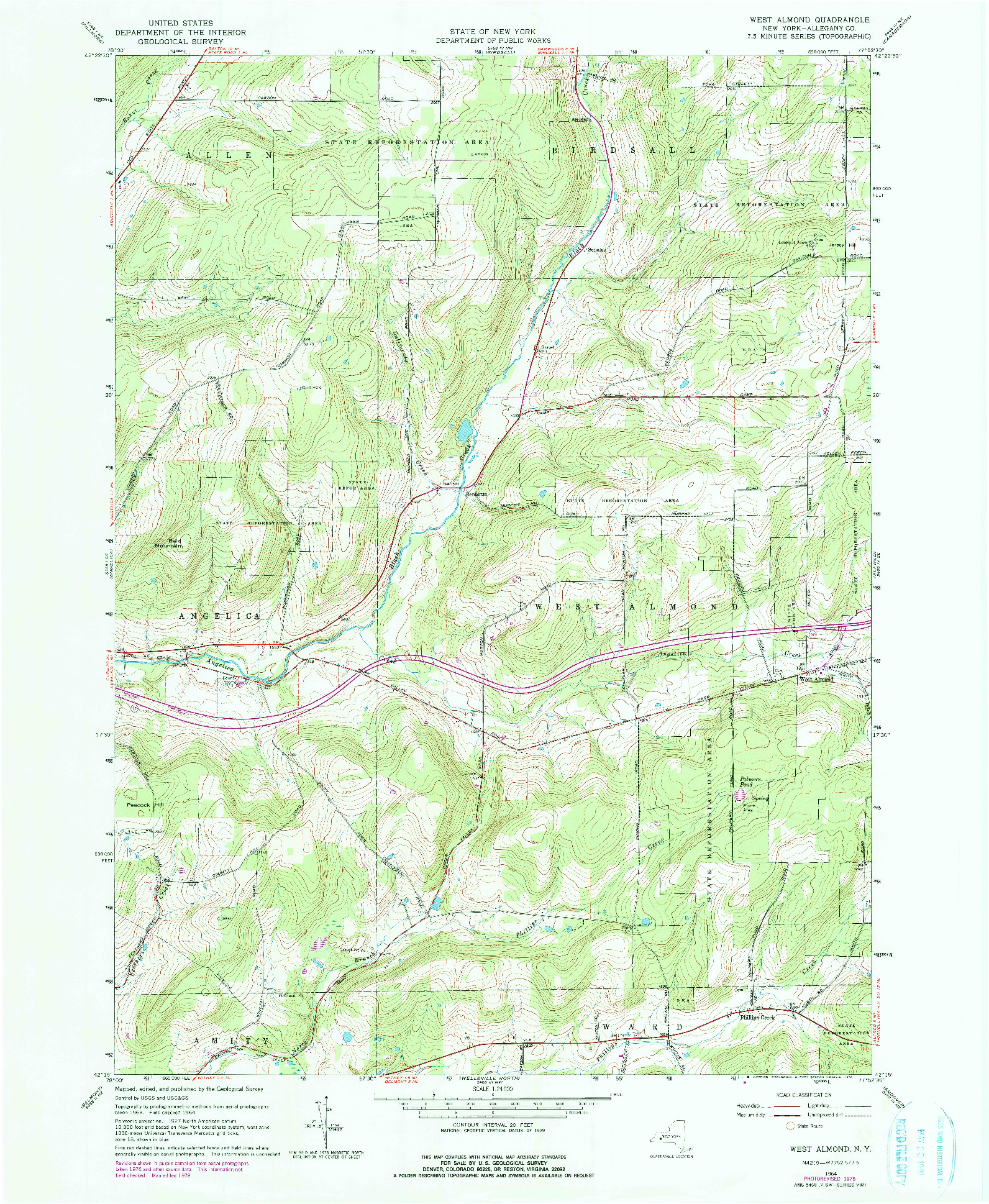 USGS 1:24000-SCALE QUADRANGLE FOR WEST ALMOND, NY 1964