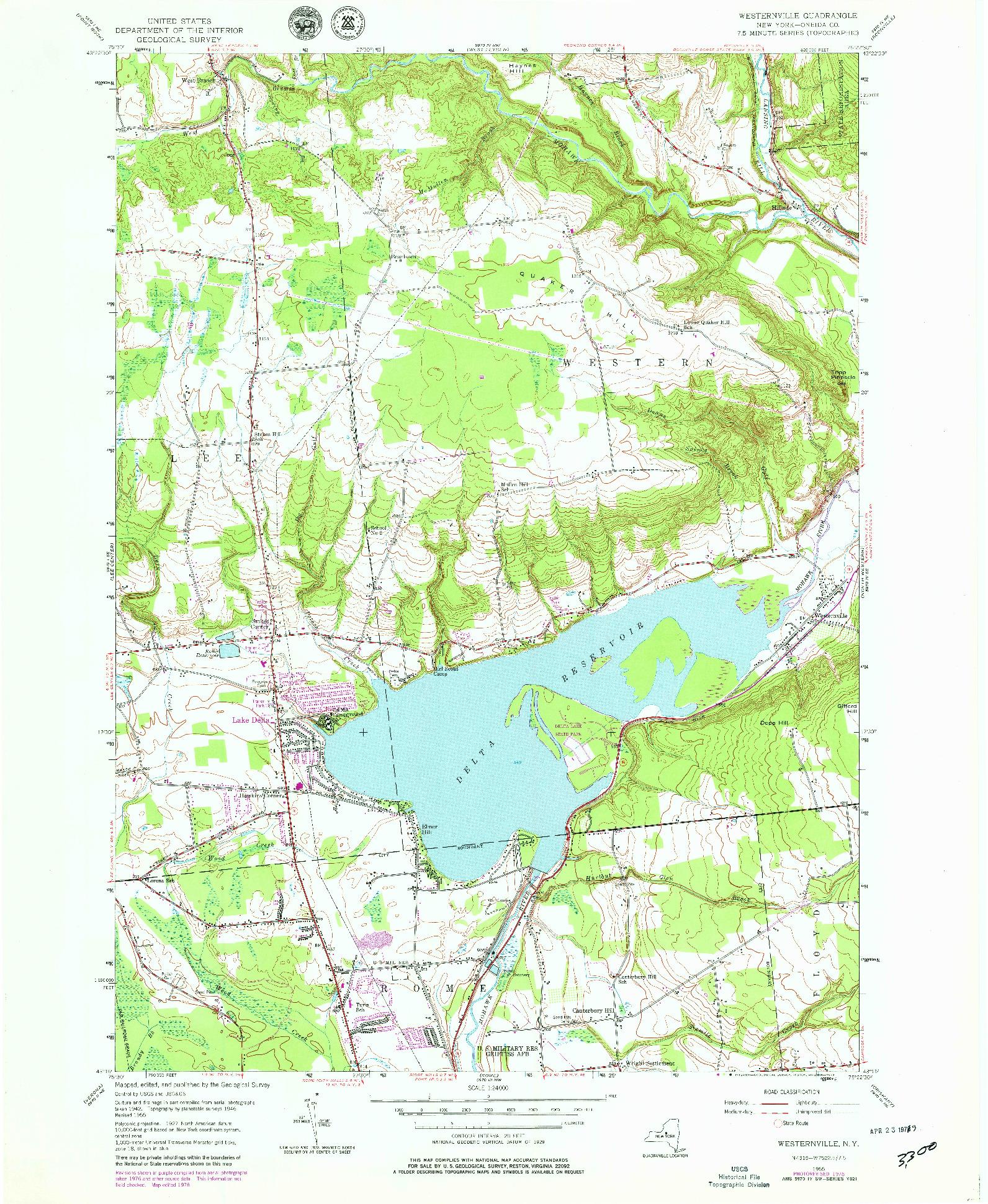 USGS 1:24000-SCALE QUADRANGLE FOR WESTERNVILLE, NY 1955