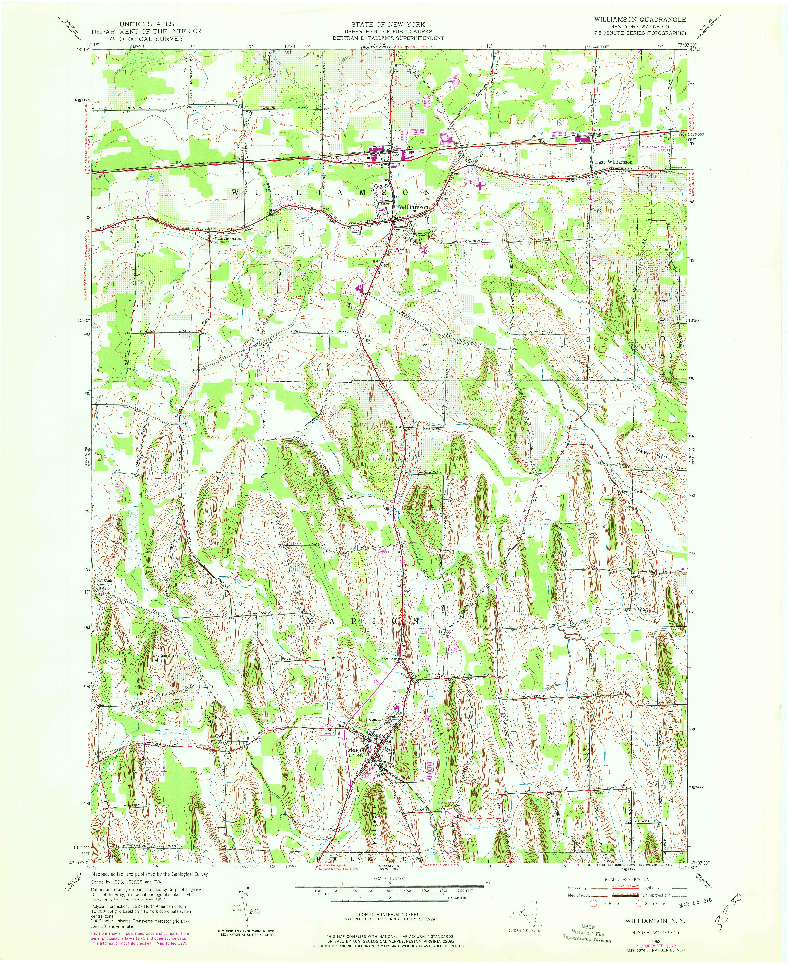USGS 1:24000-SCALE QUADRANGLE FOR WILLIAMSON, NY 1952