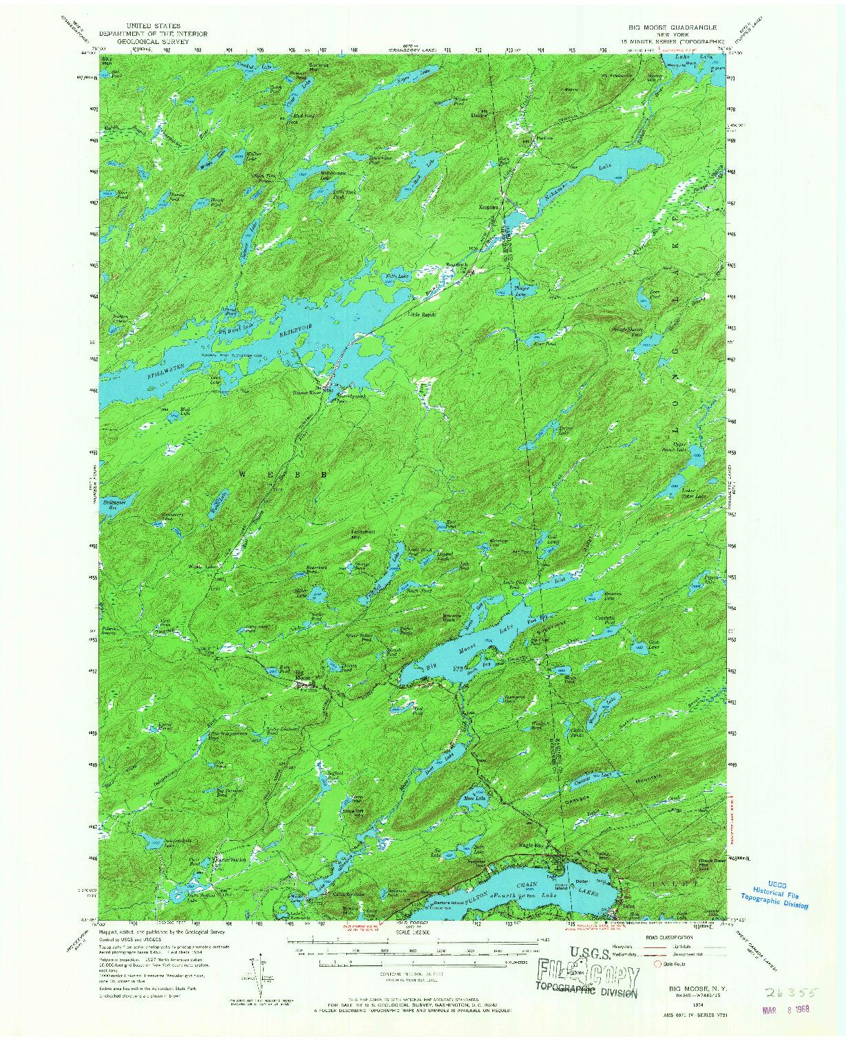 USGS 1:62500-SCALE QUADRANGLE FOR BIG MOOSE, NY 1954