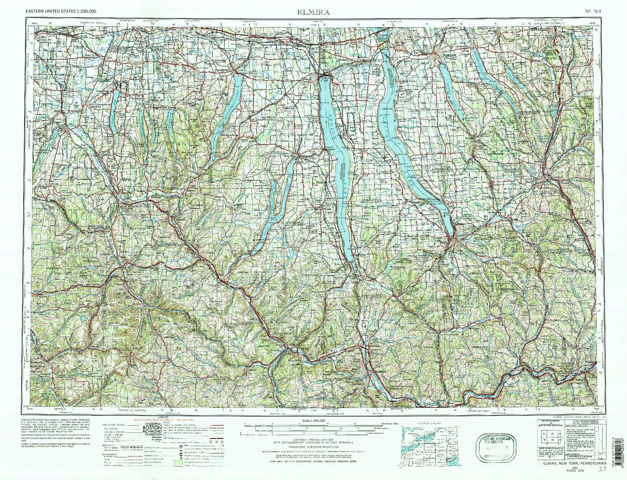 USGS 1:250000-SCALE QUADRANGLE FOR ELMIRA, NY 1962