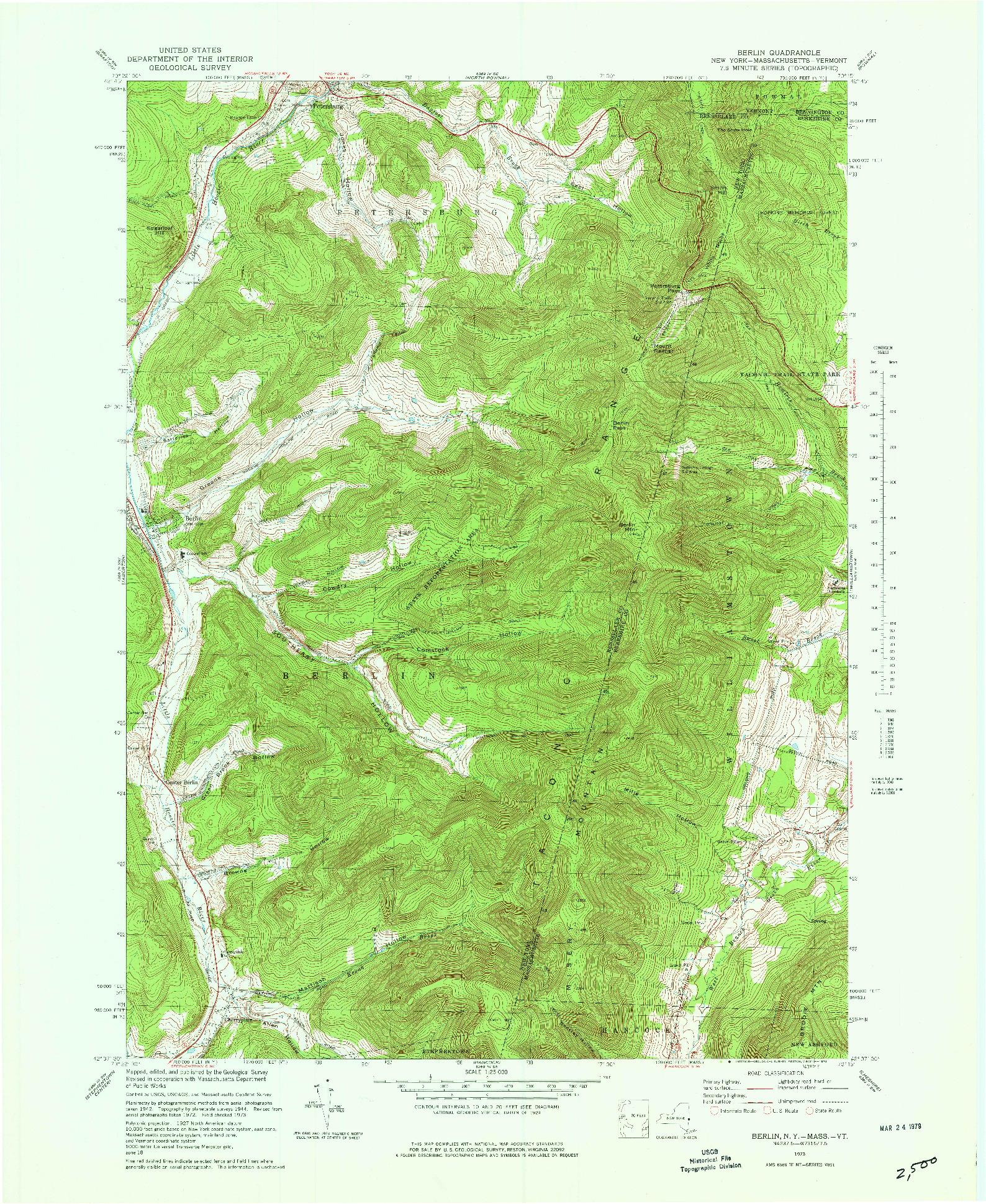 USGS 1:25000-SCALE QUADRANGLE FOR BERLIN, NY 1973