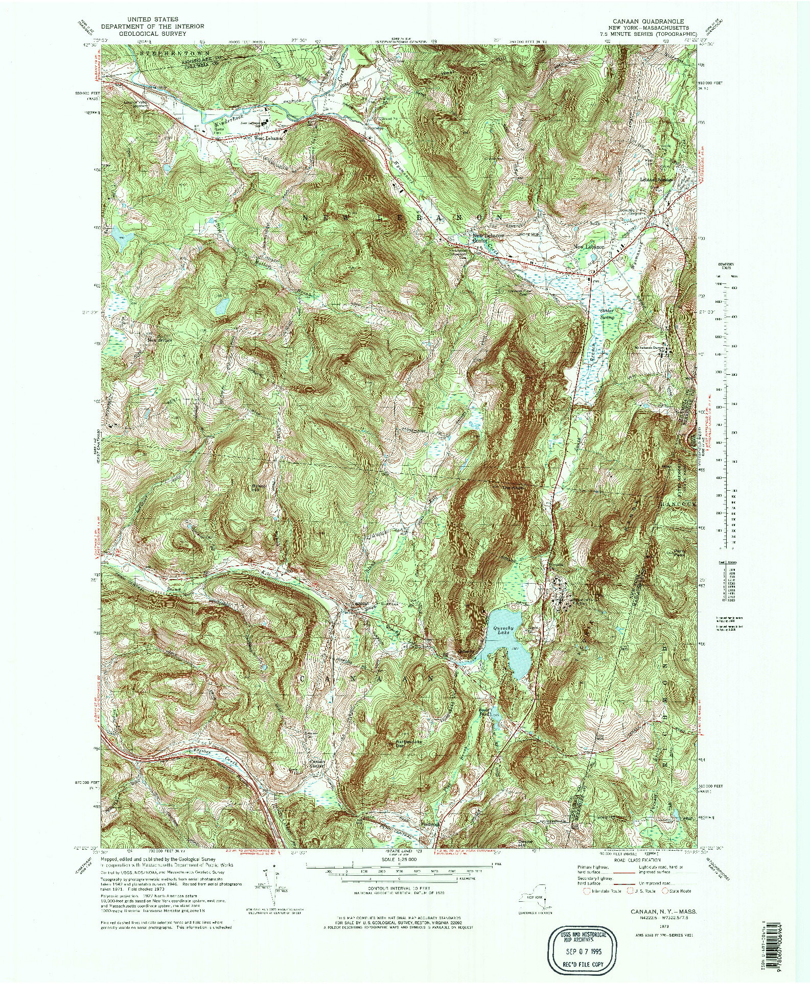USGS 1:25000-SCALE QUADRANGLE FOR CANAAN, NY 1973