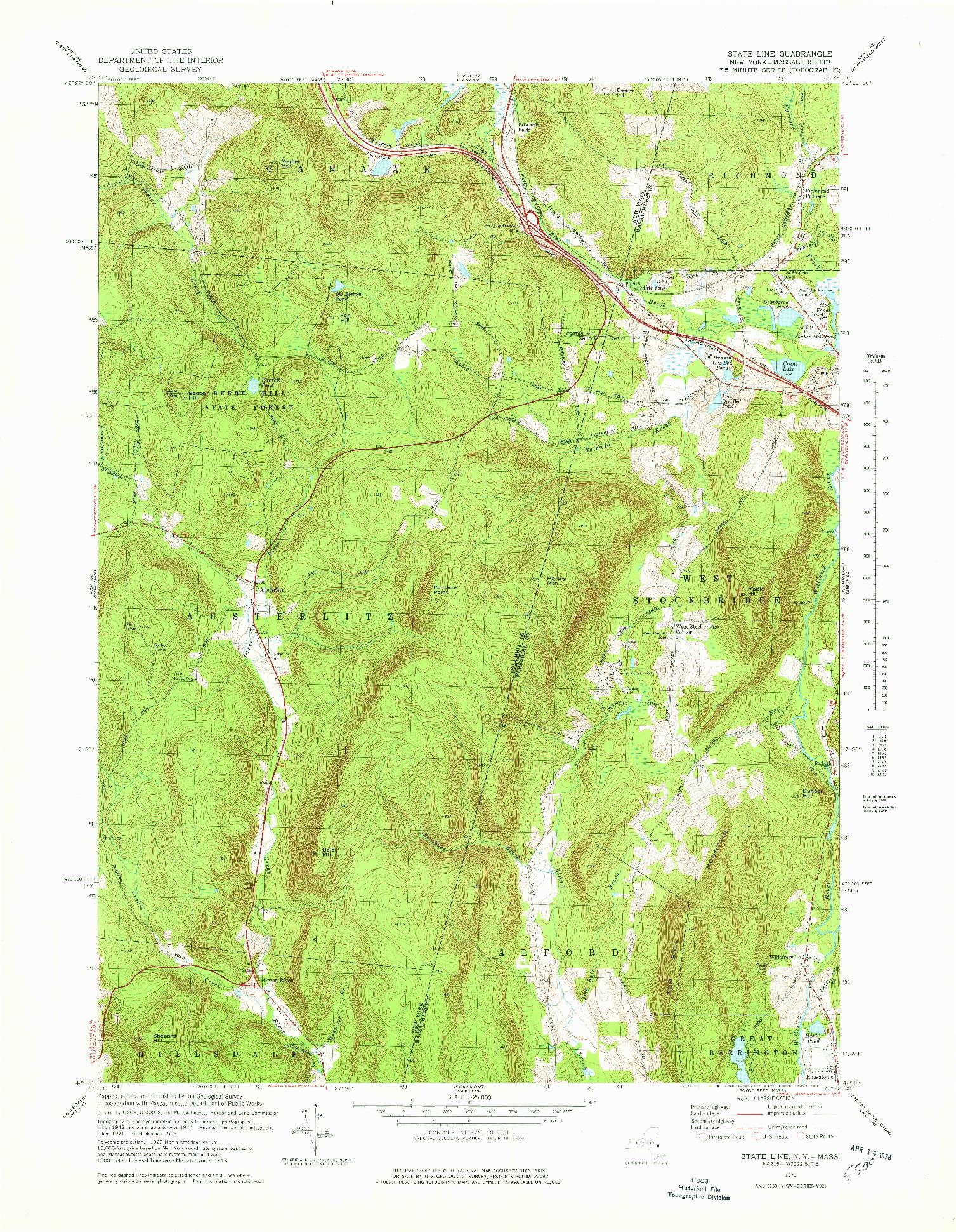USGS 1:25000-SCALE QUADRANGLE FOR STATE LINE, NY 1973