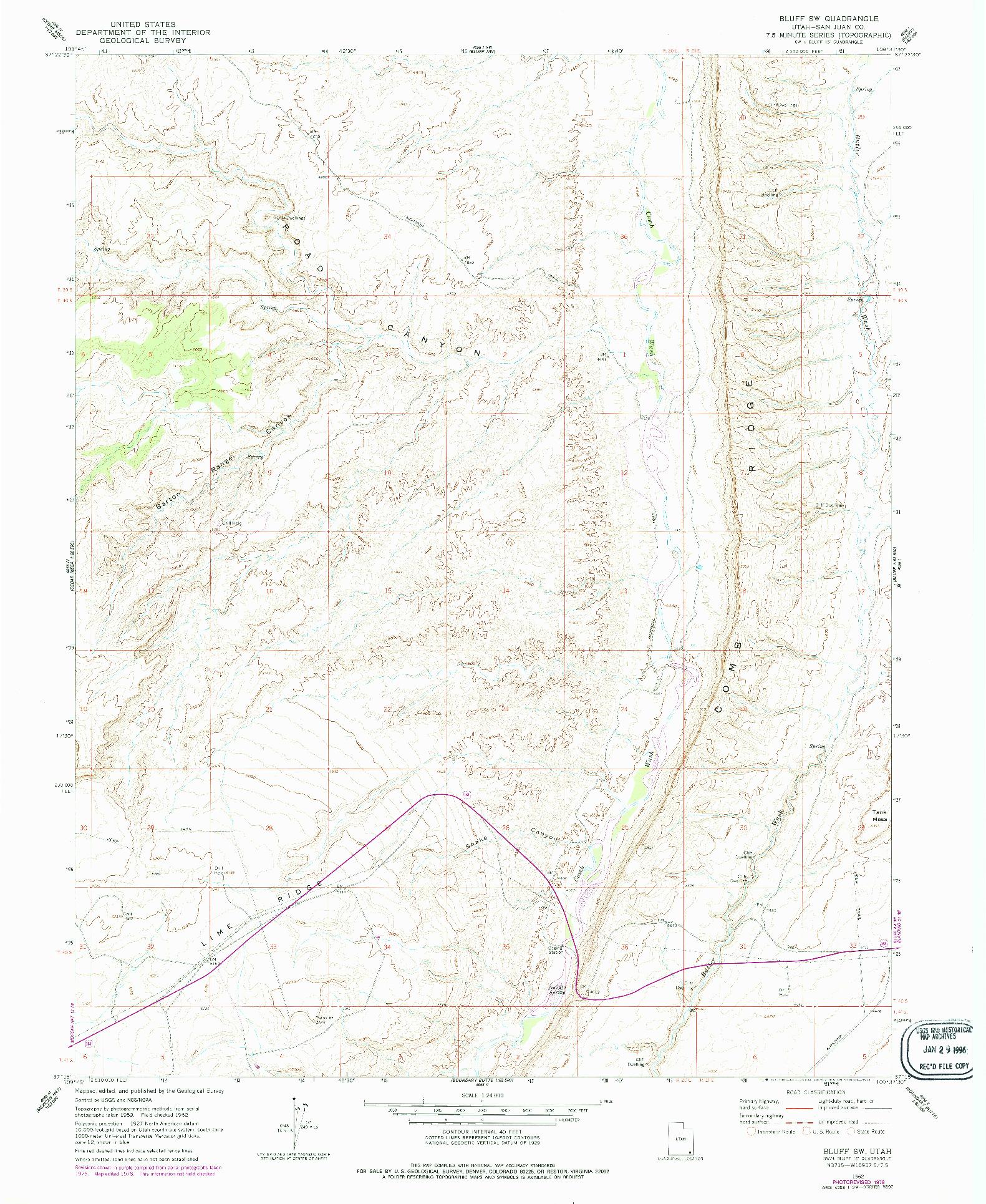 USGS 1:24000-SCALE QUADRANGLE FOR BLUFF SW, UT 1962