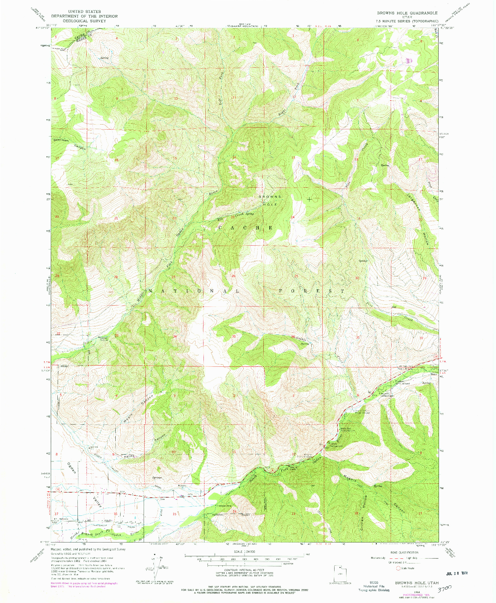 USGS 1:24000-SCALE QUADRANGLE FOR BROWNS HOLE, UT 1964