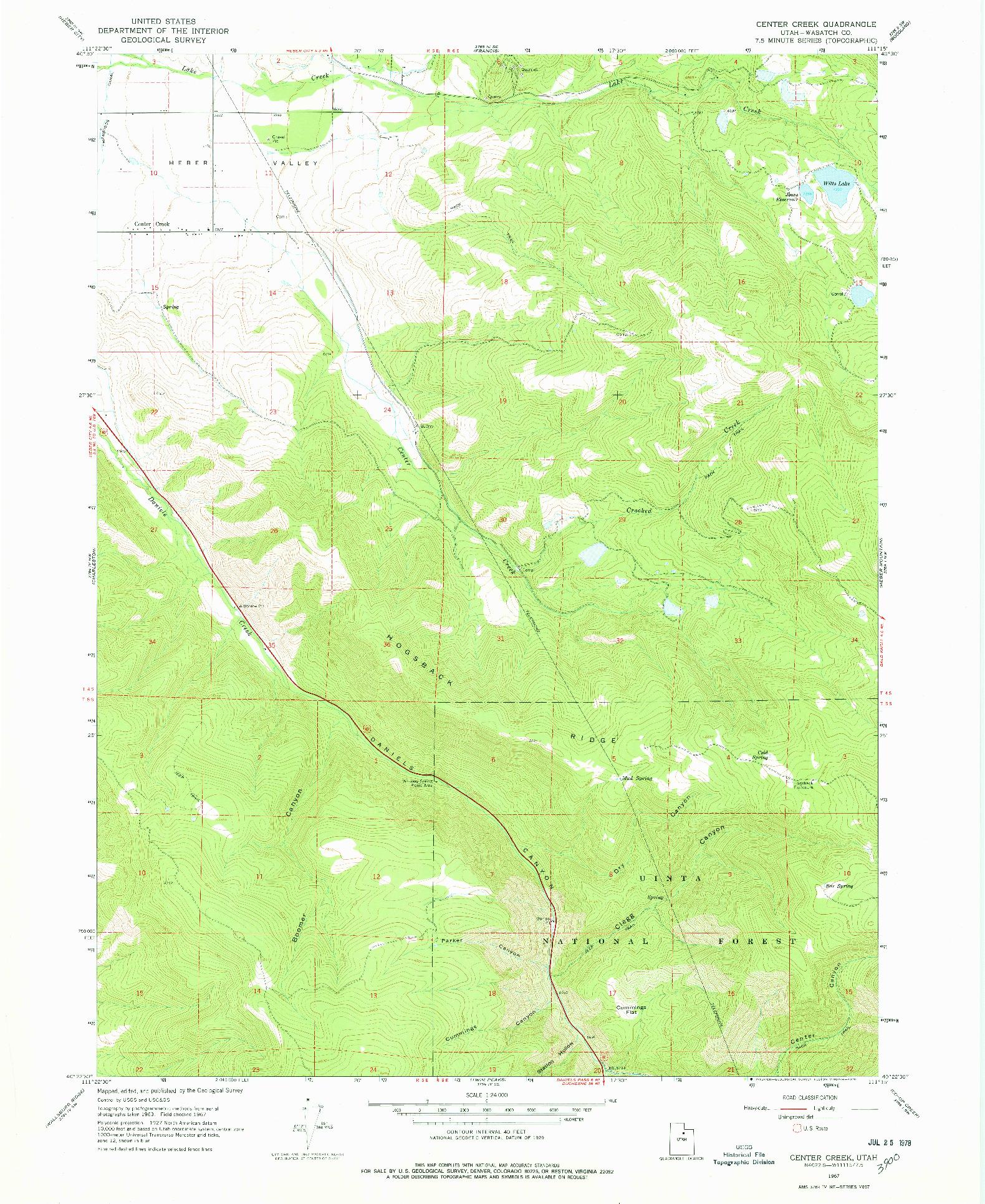 USGS 1:24000-SCALE QUADRANGLE FOR CENTER CREEK, UT 1967