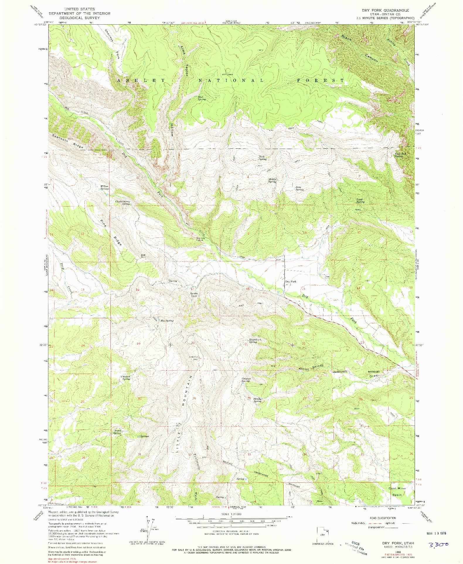 USGS 1:24000-SCALE QUADRANGLE FOR DRY FORK, UT 1966