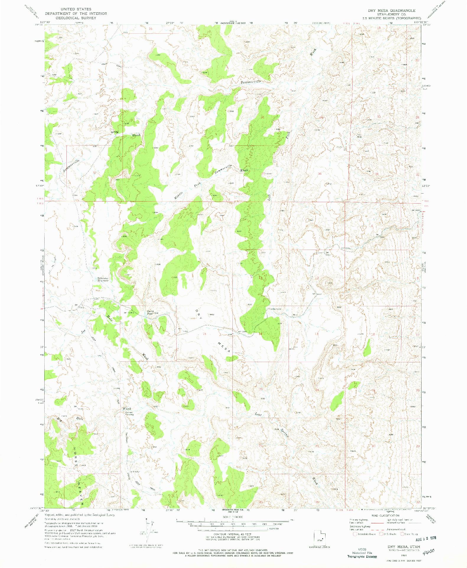USGS 1:24000-SCALE QUADRANGLE FOR DRY MESA, UT 1969