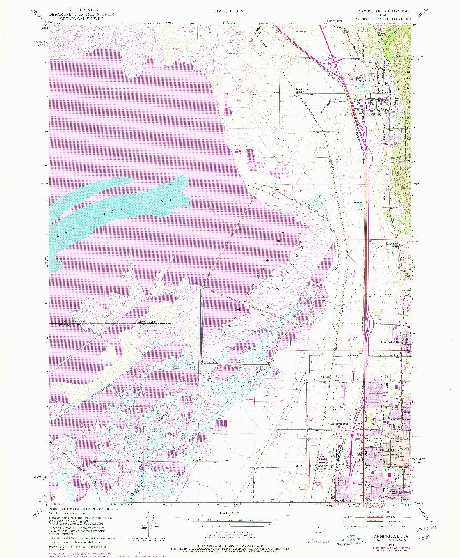USGS 1:24000-SCALE QUADRANGLE FOR FARMINGTON, UT 1952